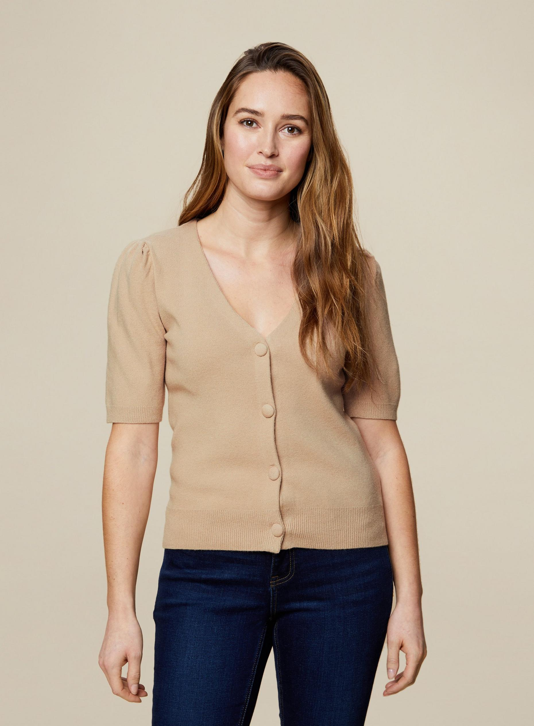 Camel Self Covered Button Cardigan