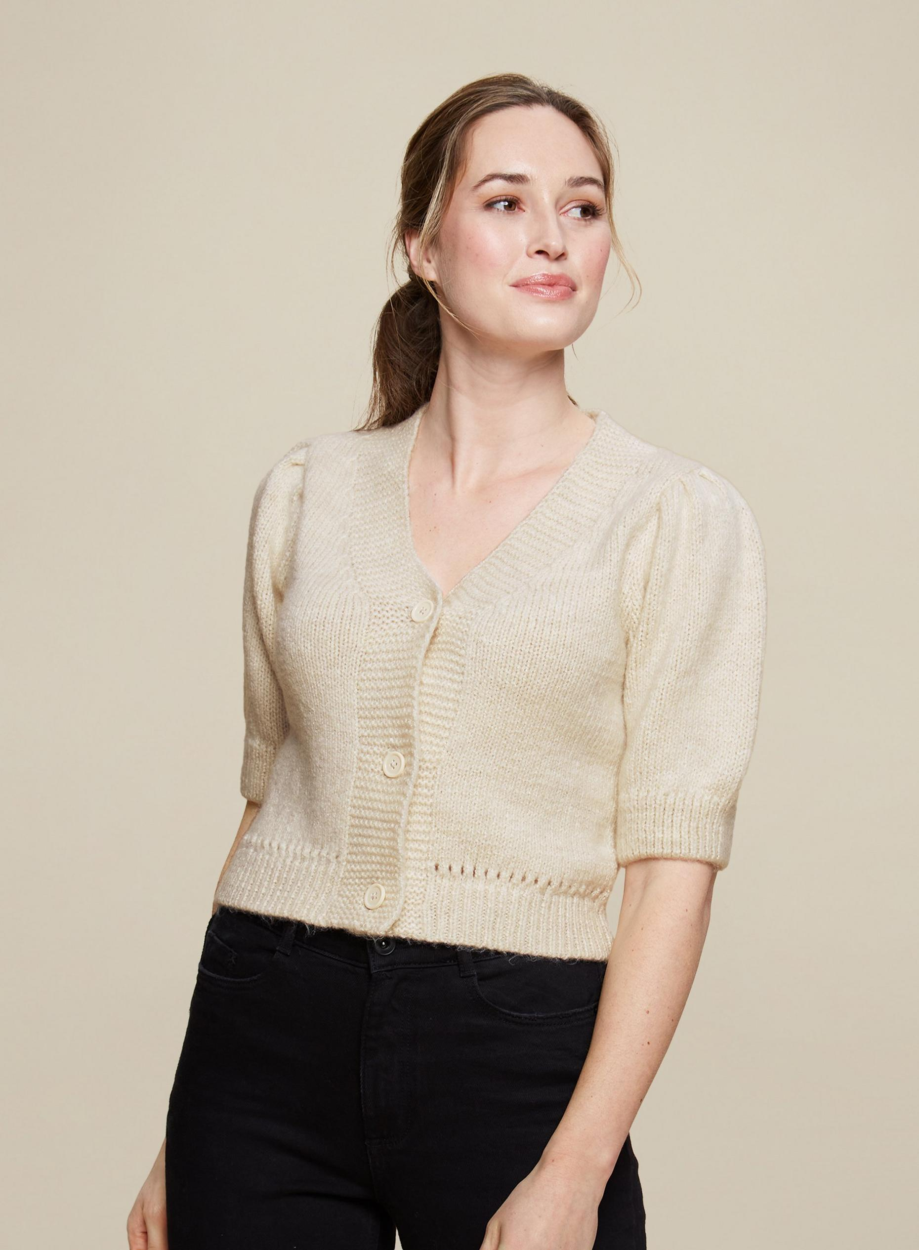 Oatmeal Half Sleeve Cropped Knitted Cardigan