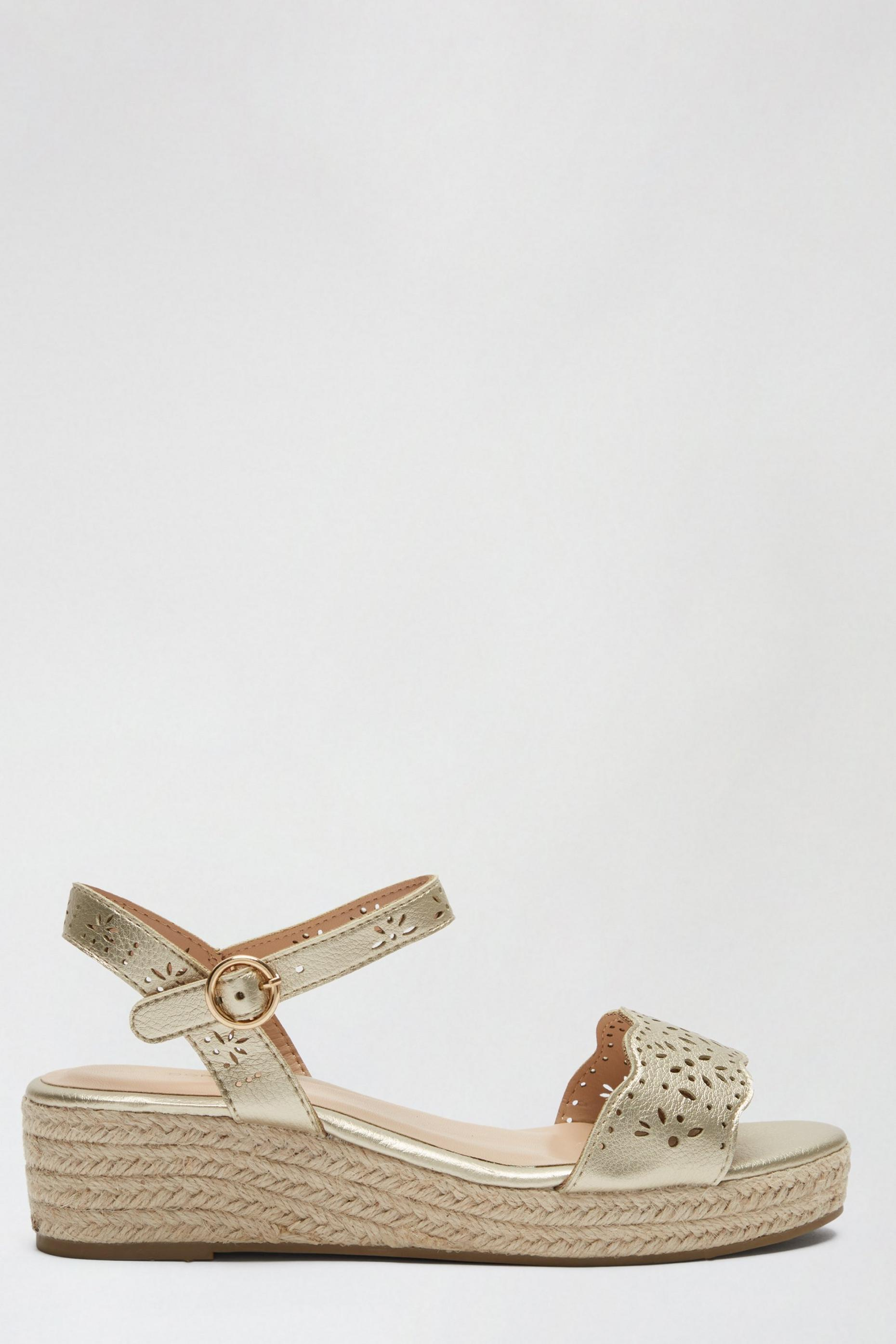 Wide Fit Gold Rebecca Wedge