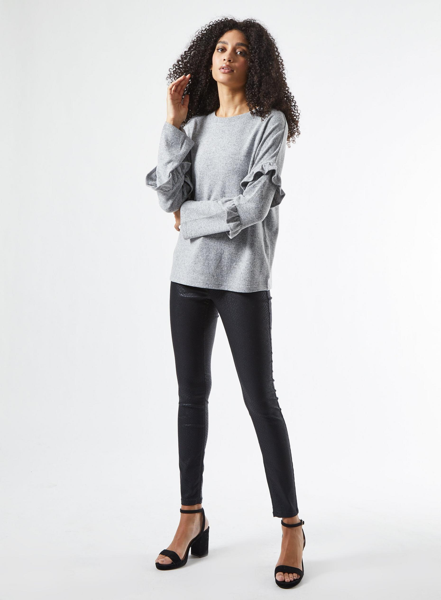 Grey Soft Touch Ruffle Top