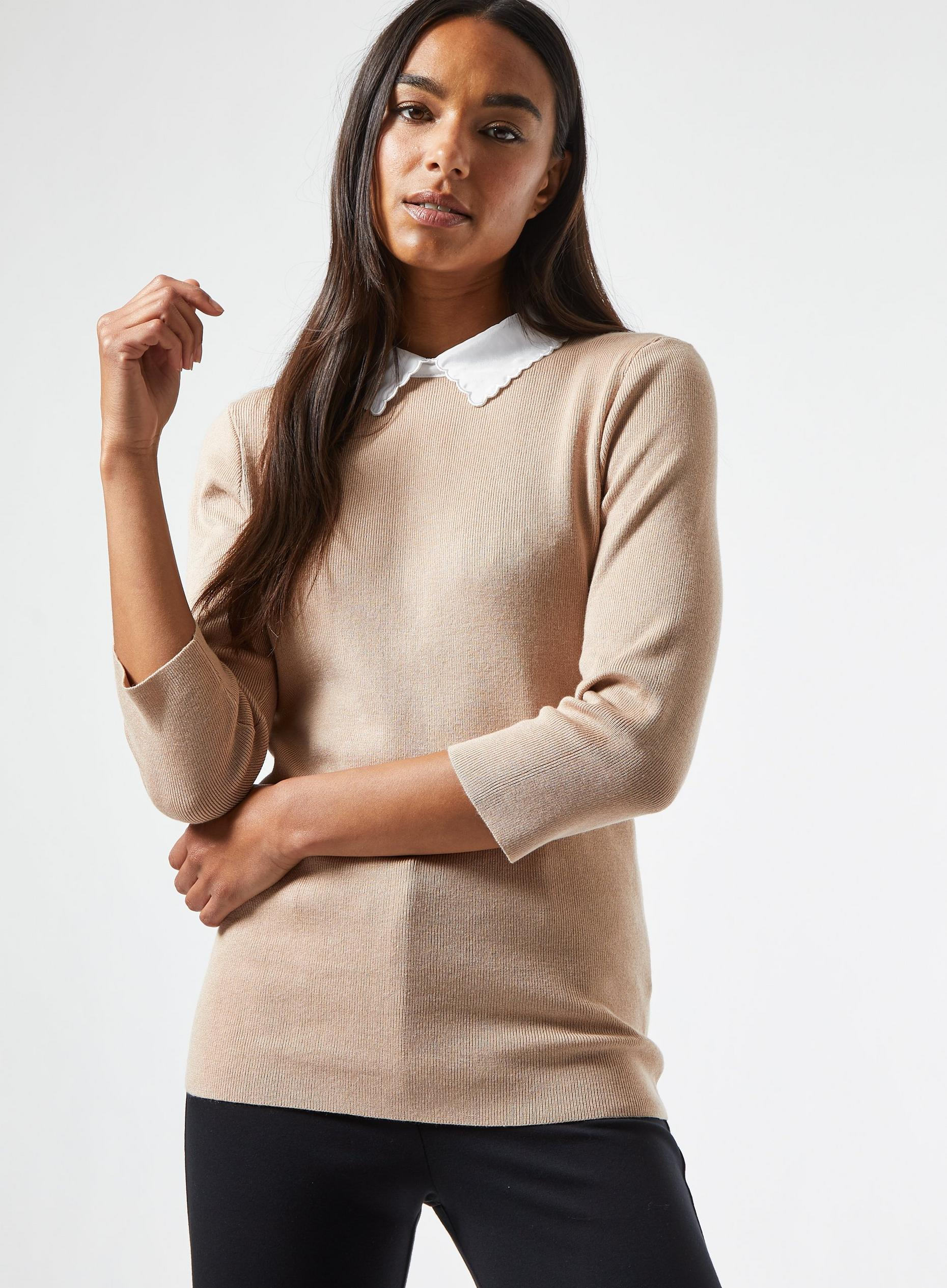 Camel Scallop Collar Knitted Jumper
