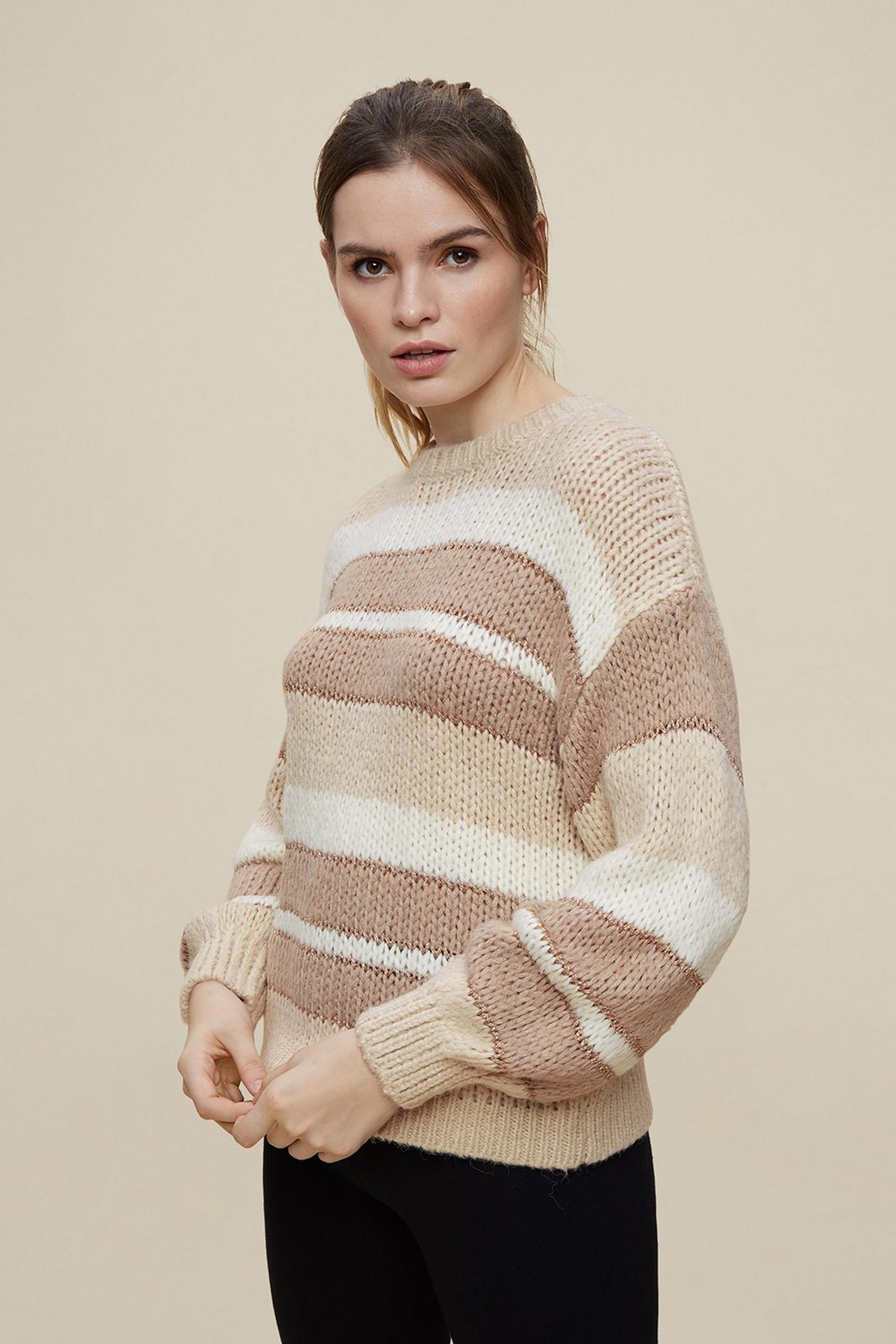 Stone and White Striped Jumper