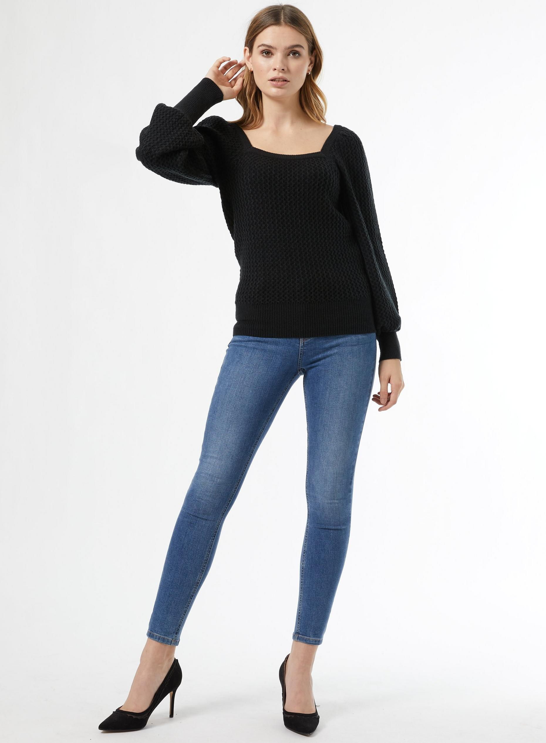 Black Square Neck Jumper