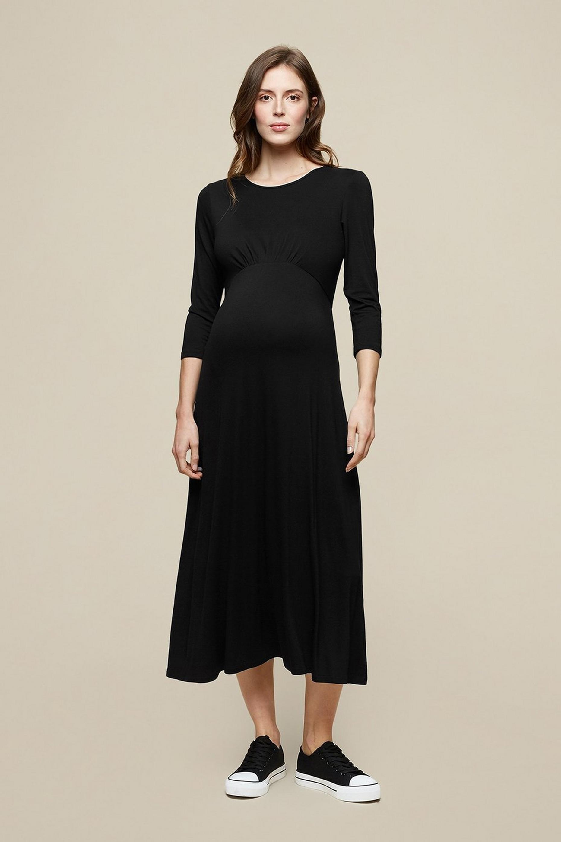 Maternity Black Three Quarter Sleeve Dress