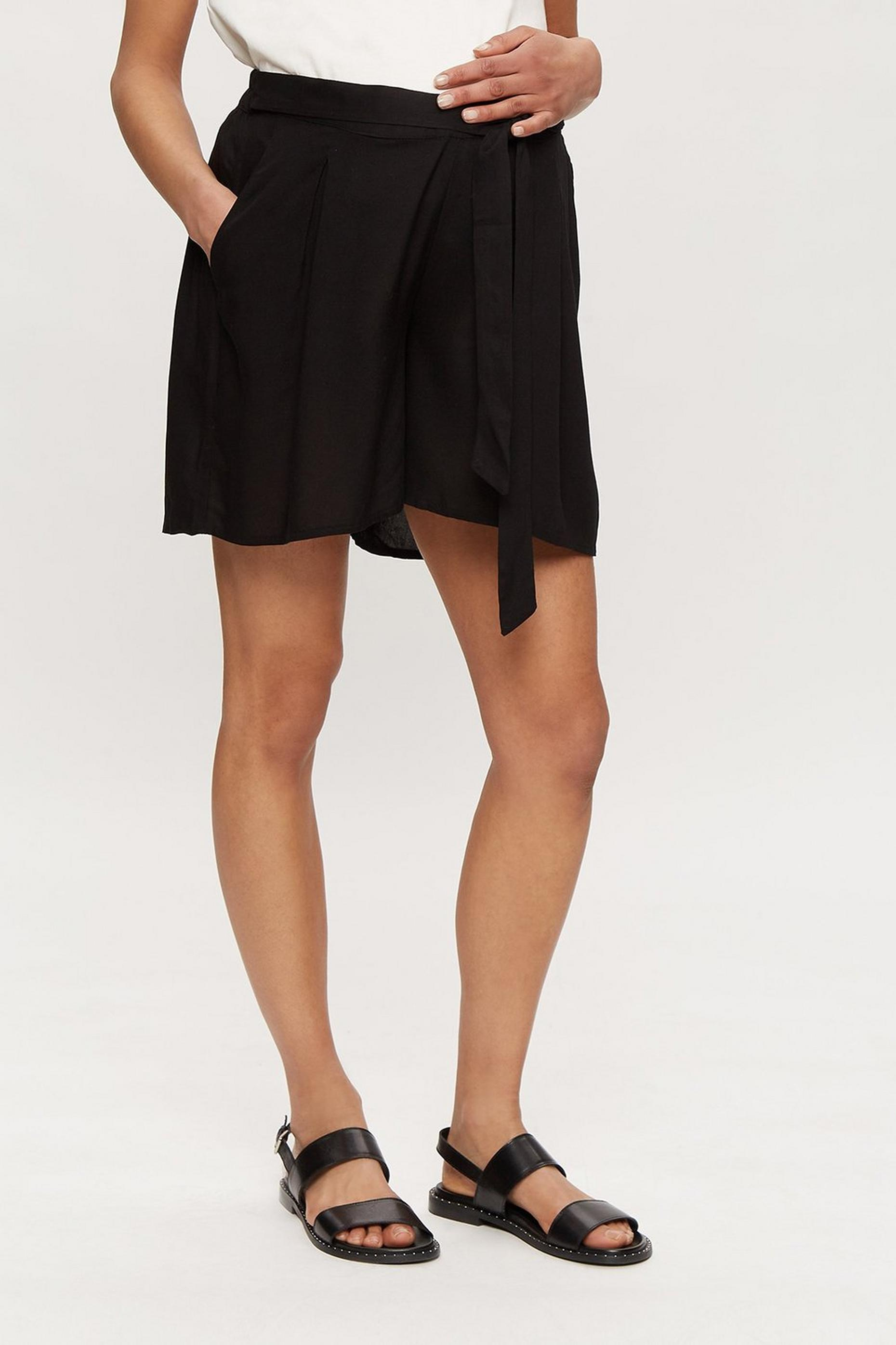Maternity Black Tie Waist Short