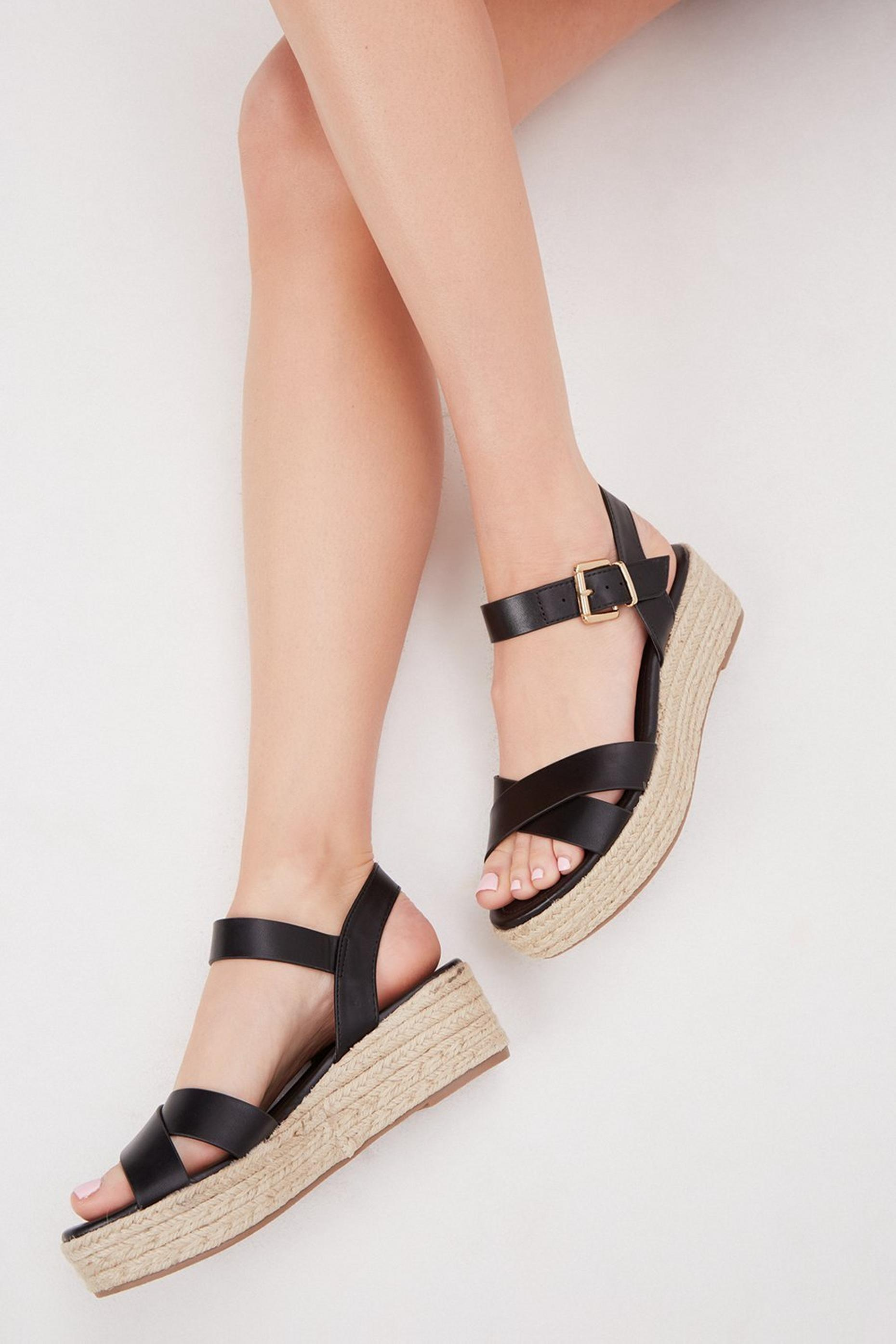 Black Reenie Cross Strap Wedge