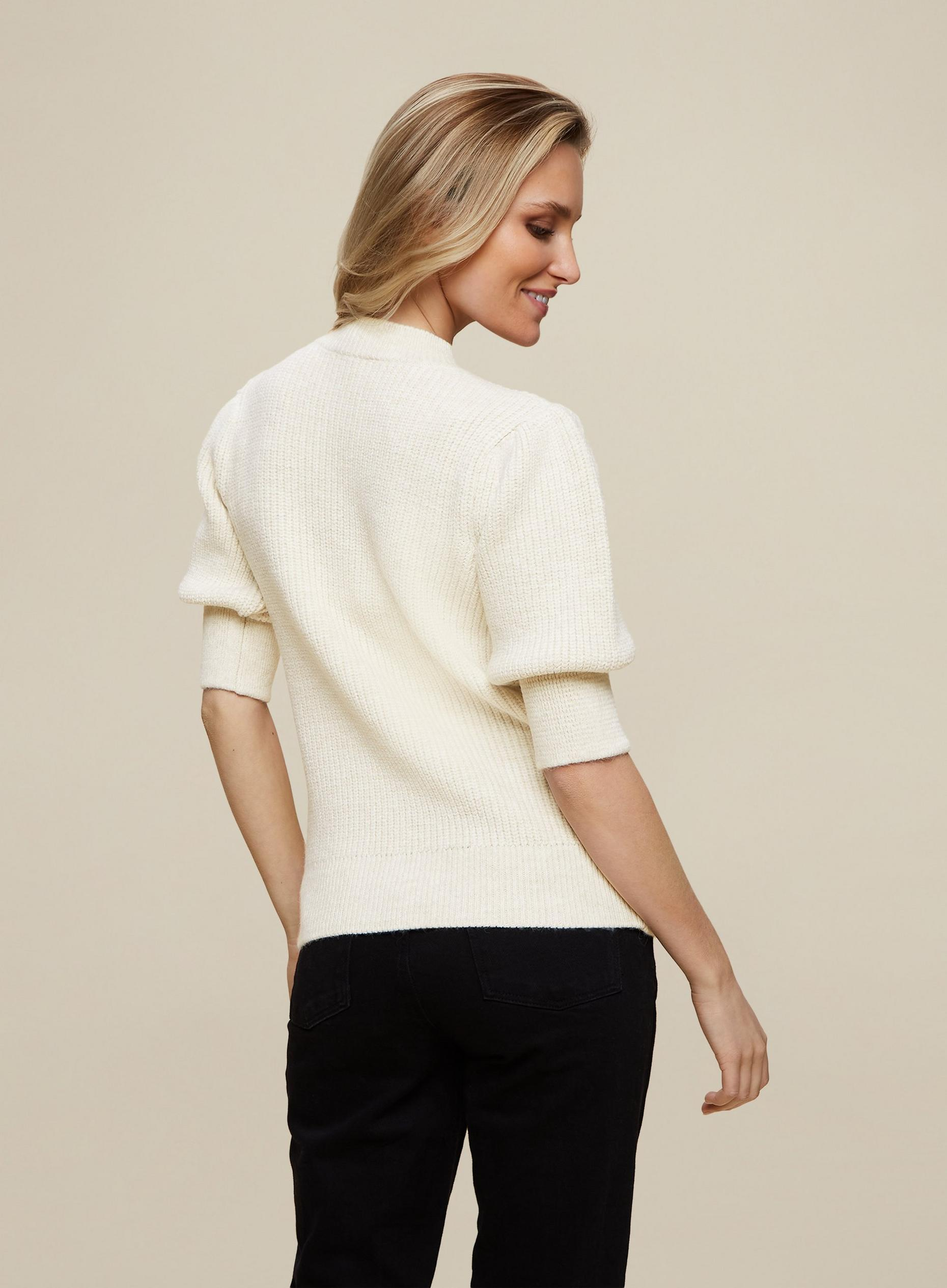 Cream Embroidered Short Sleeve Jumper