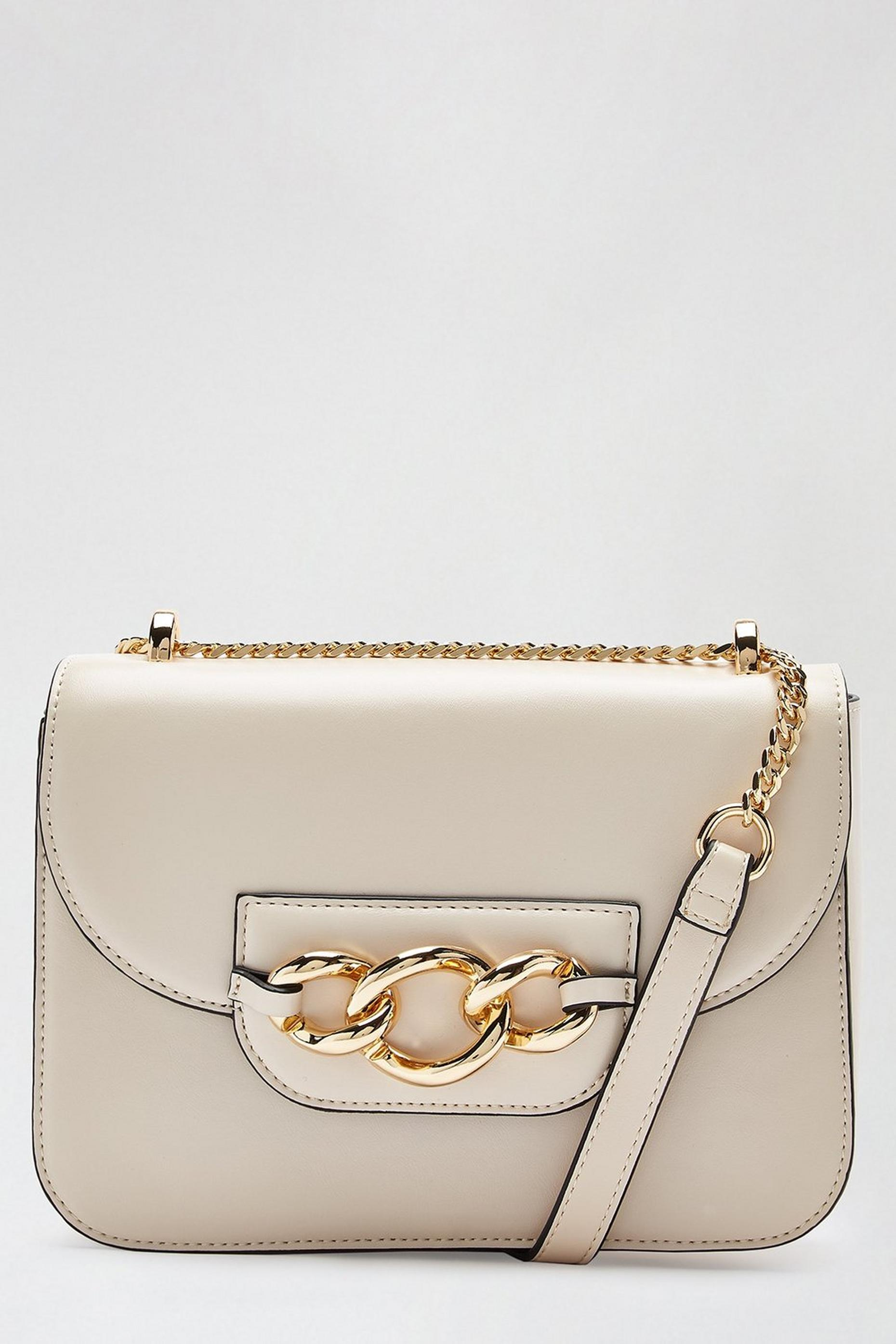 Beige Cuba Chain Front Cross Body Bag
