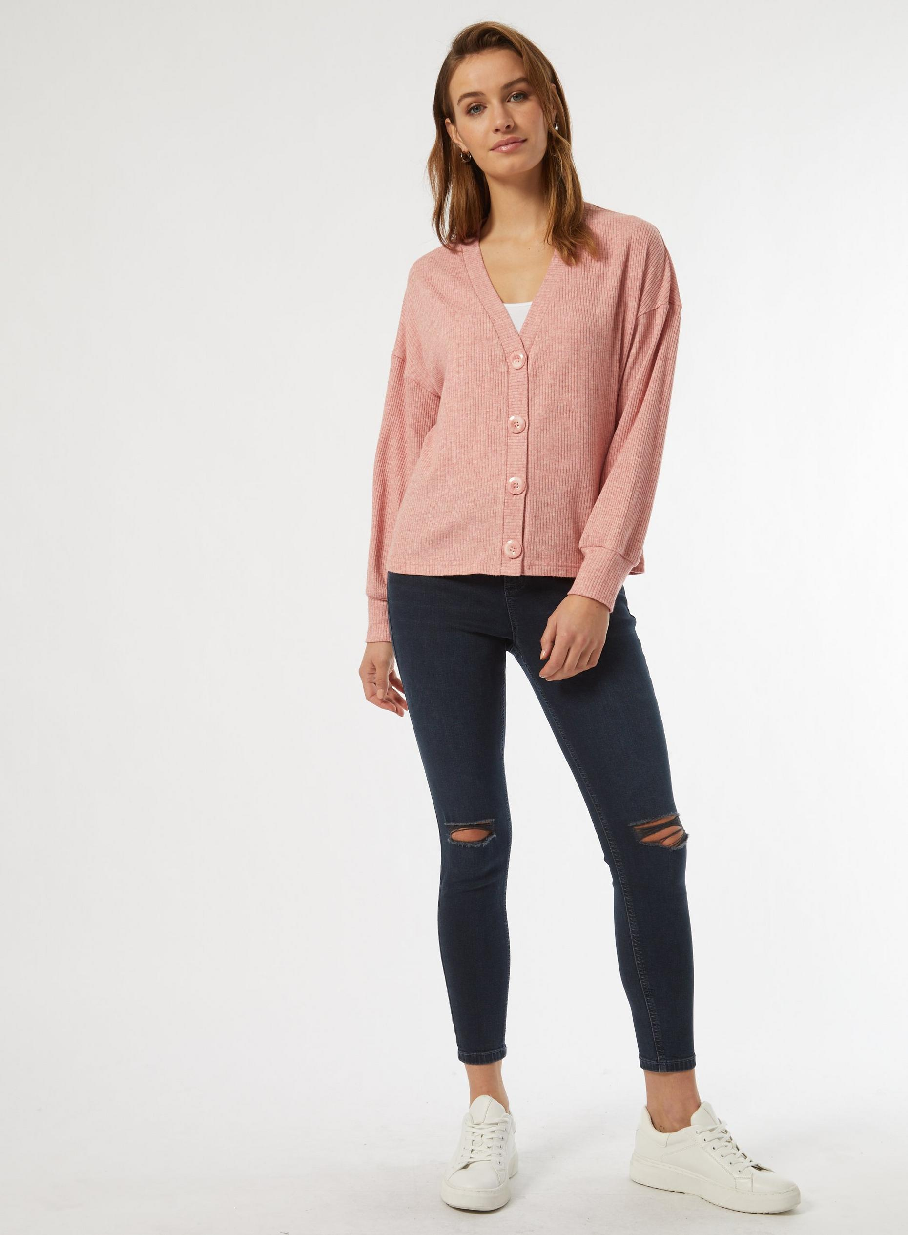 Blush Ribbed Button Cardigan