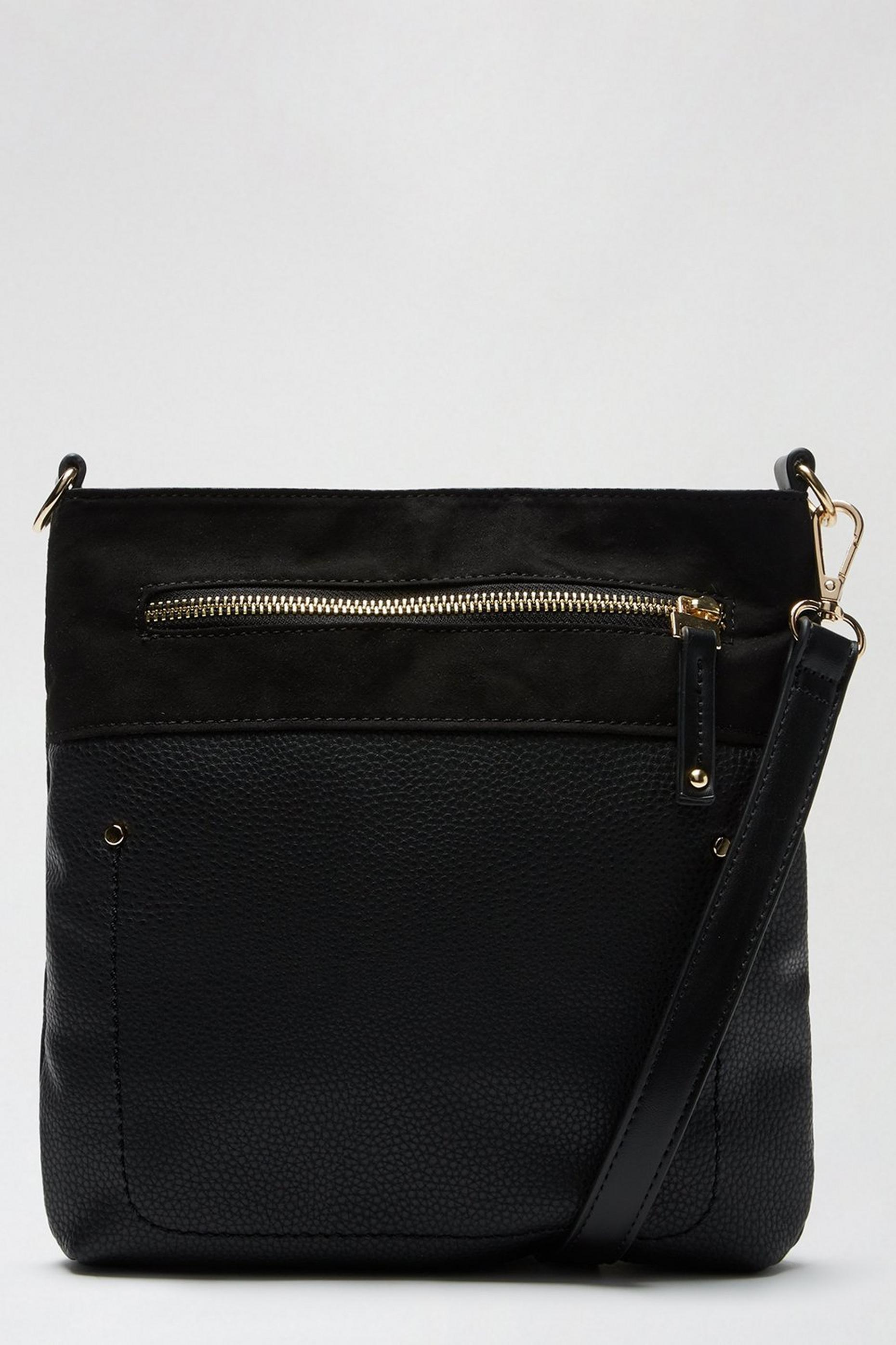 Black Zip Front Messenger Cross Body Bag