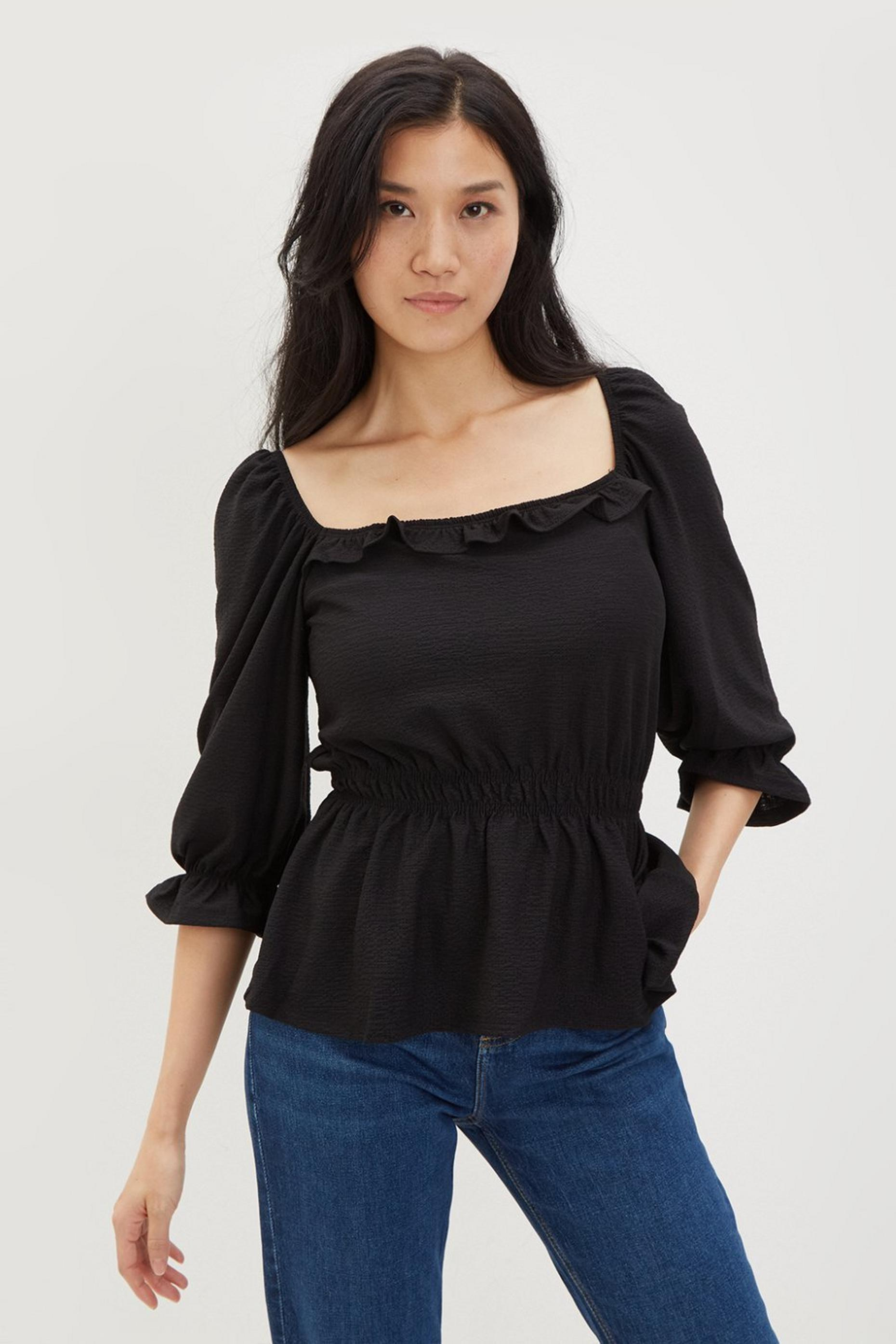 Black Square Neck Textured Top