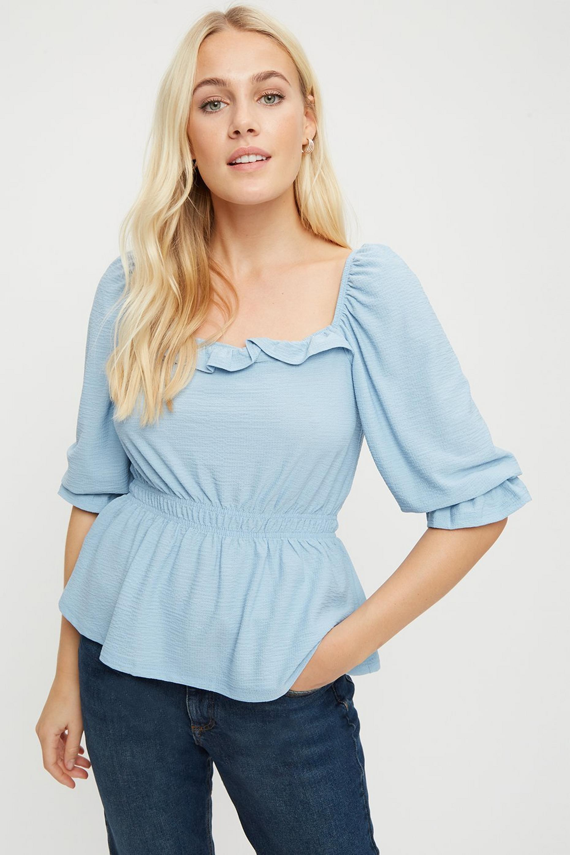 Blue Sqaure Neck Textured Top