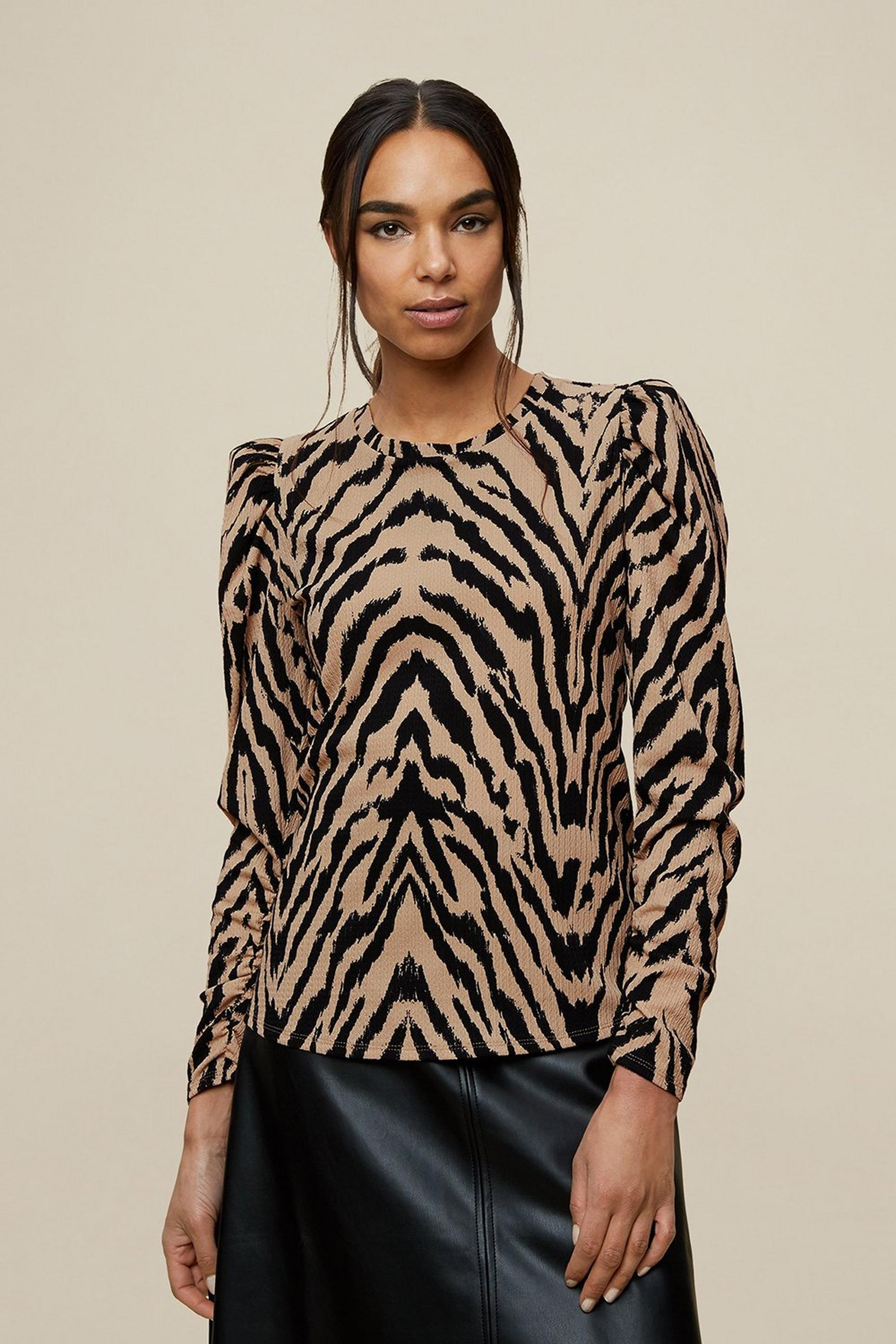 Tiger Print Textured Top