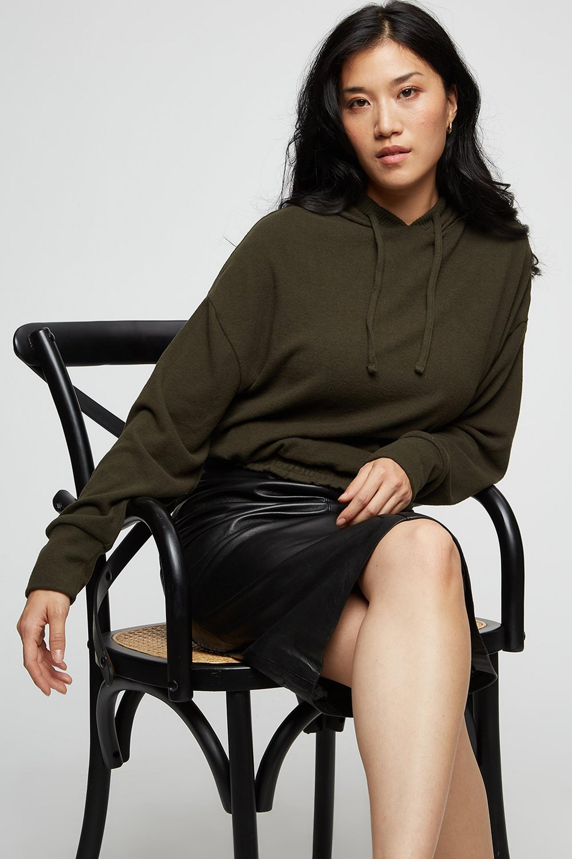 Khaki Soft Touch Pull On Hoodie