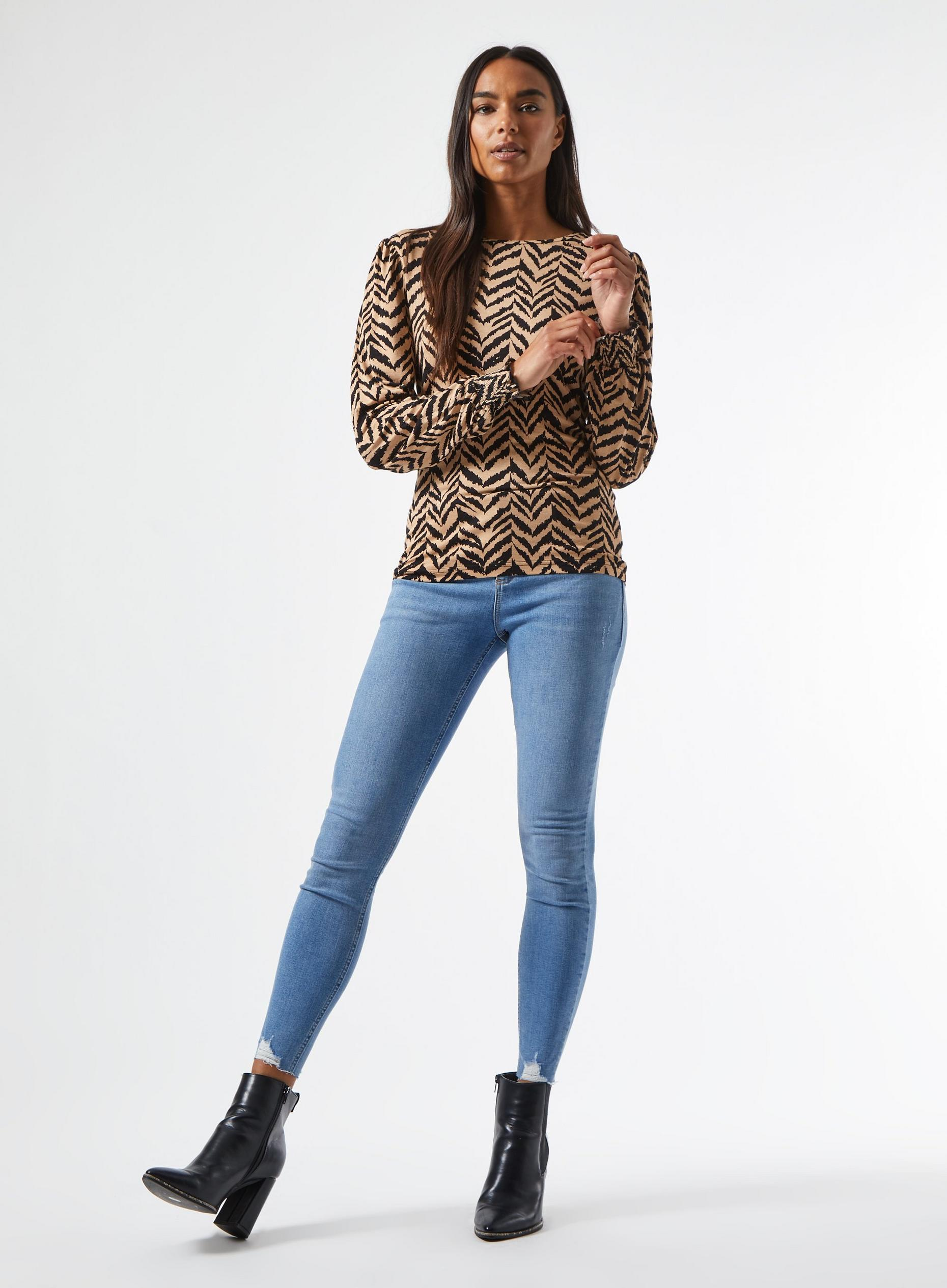 Zebra Print Shirred Cuff Top