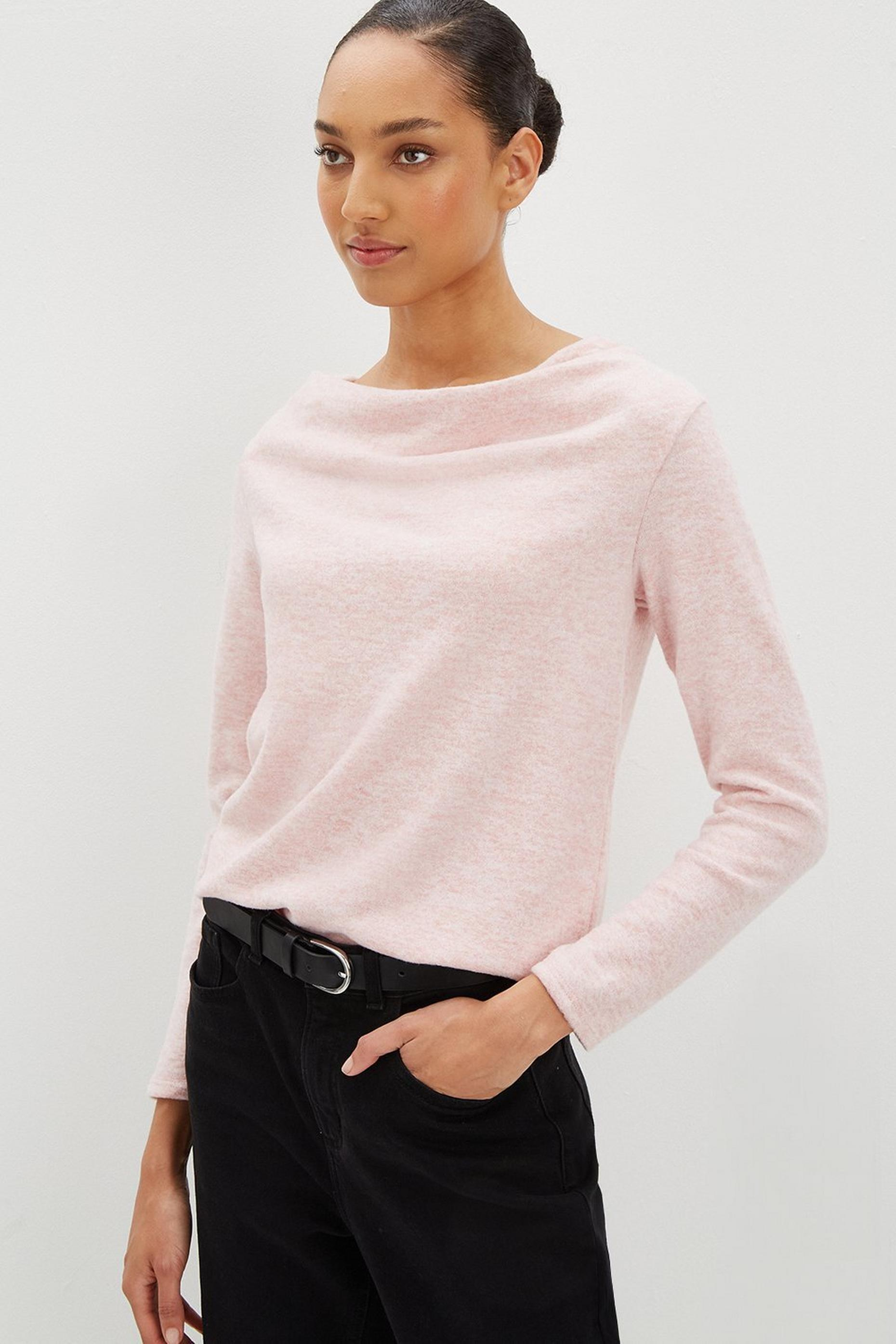 Pink Cowl Neck Soft Touch Top
