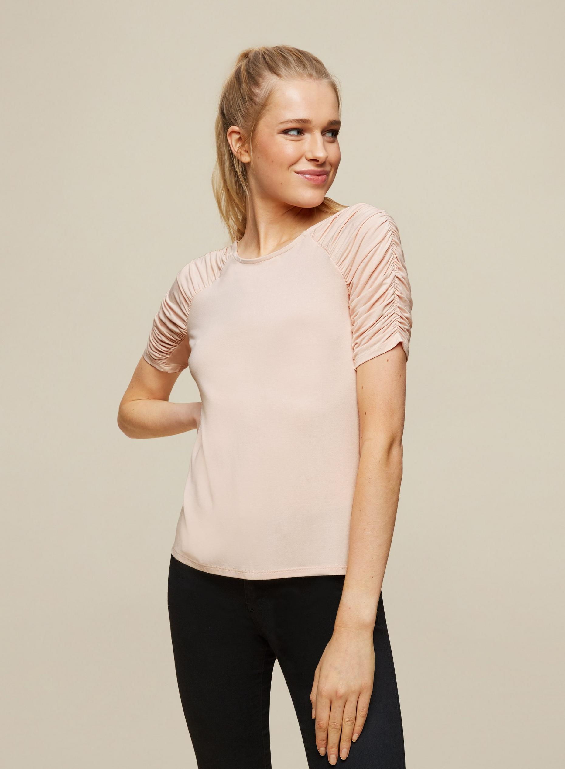 Blush Ruched Sleeve Top