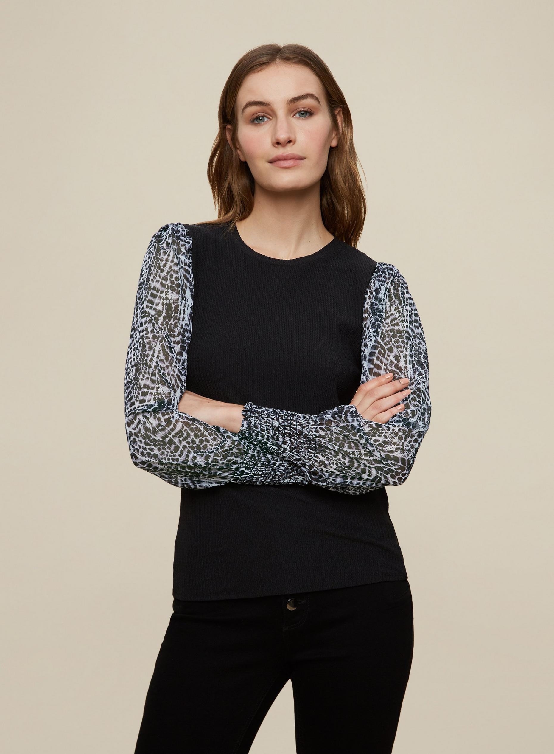 Black Leopard Print 2-in-1 Top