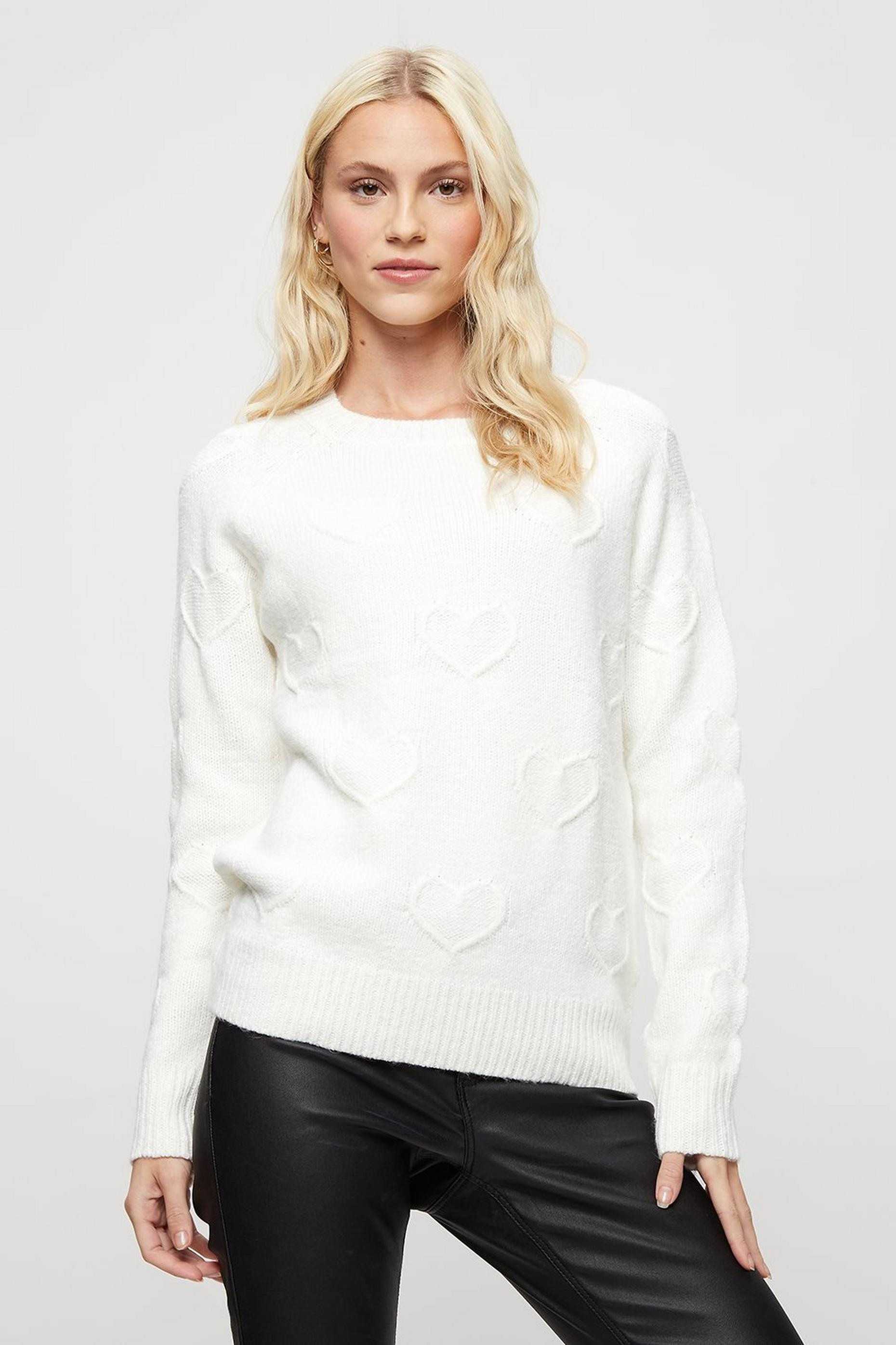 Ivory All Over Heart Jumper