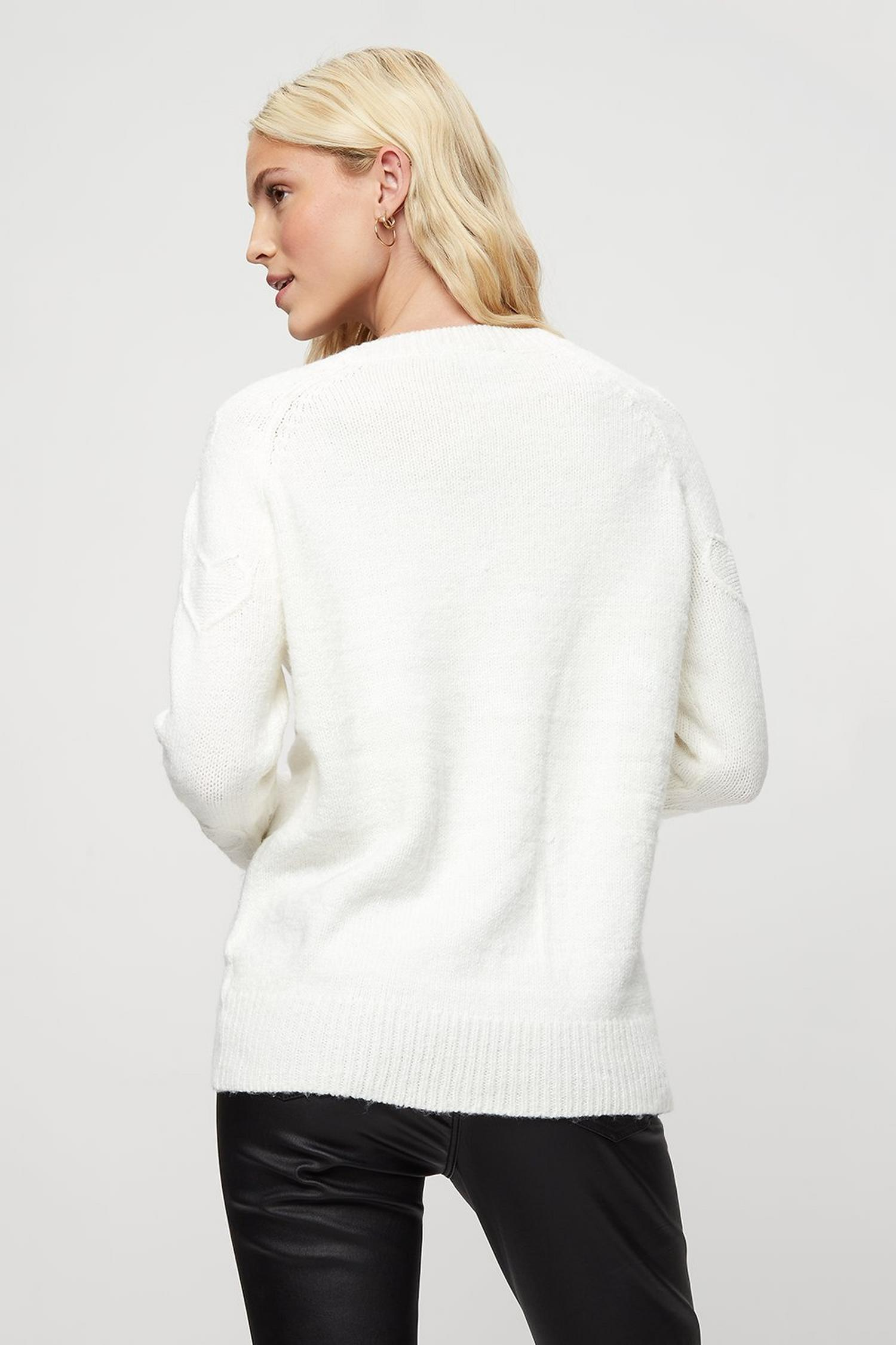 123 Ivory All Over Heart Jumper image number 3