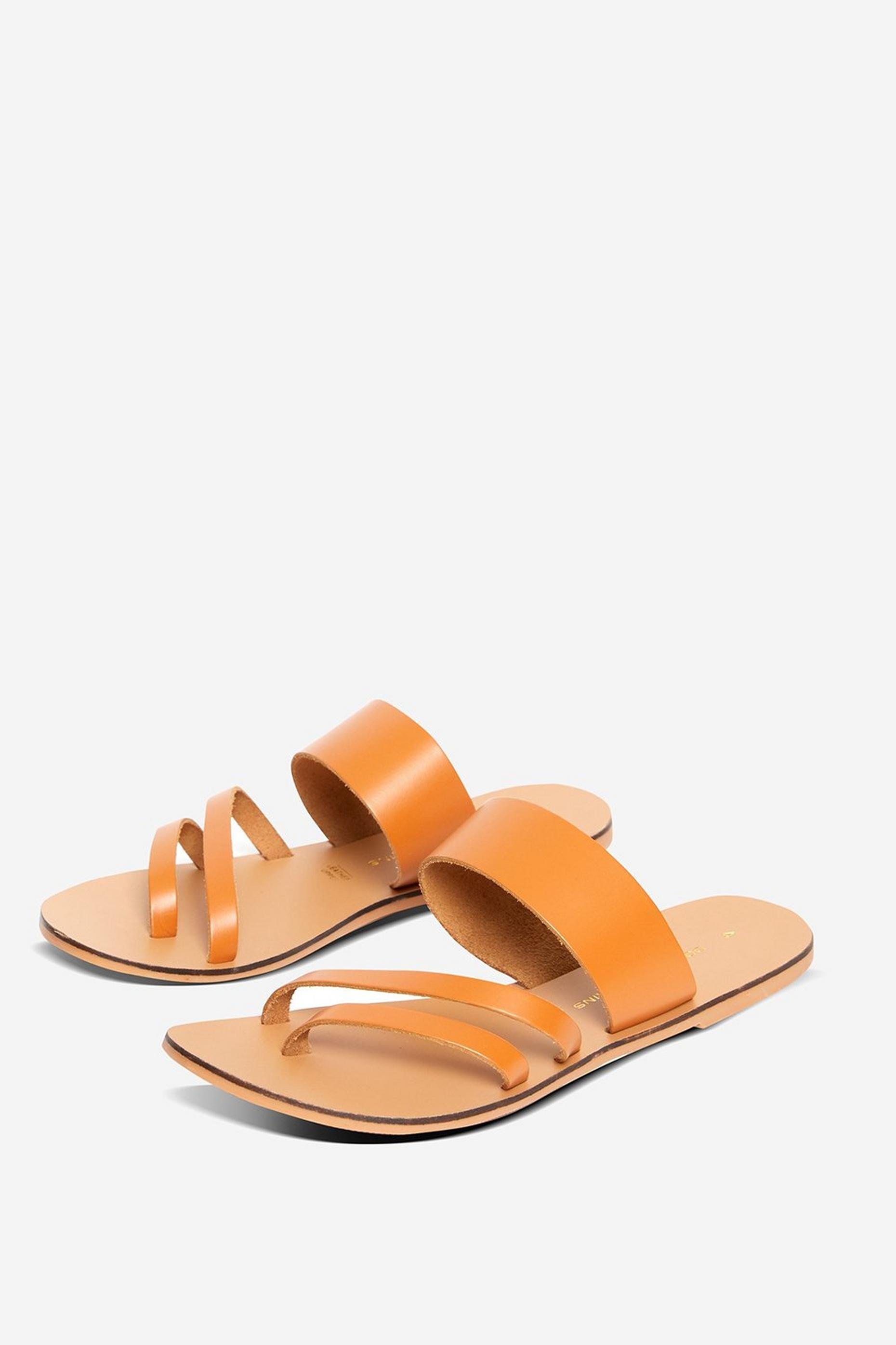 Leather Tan Joss Aysmmetrical Sandals