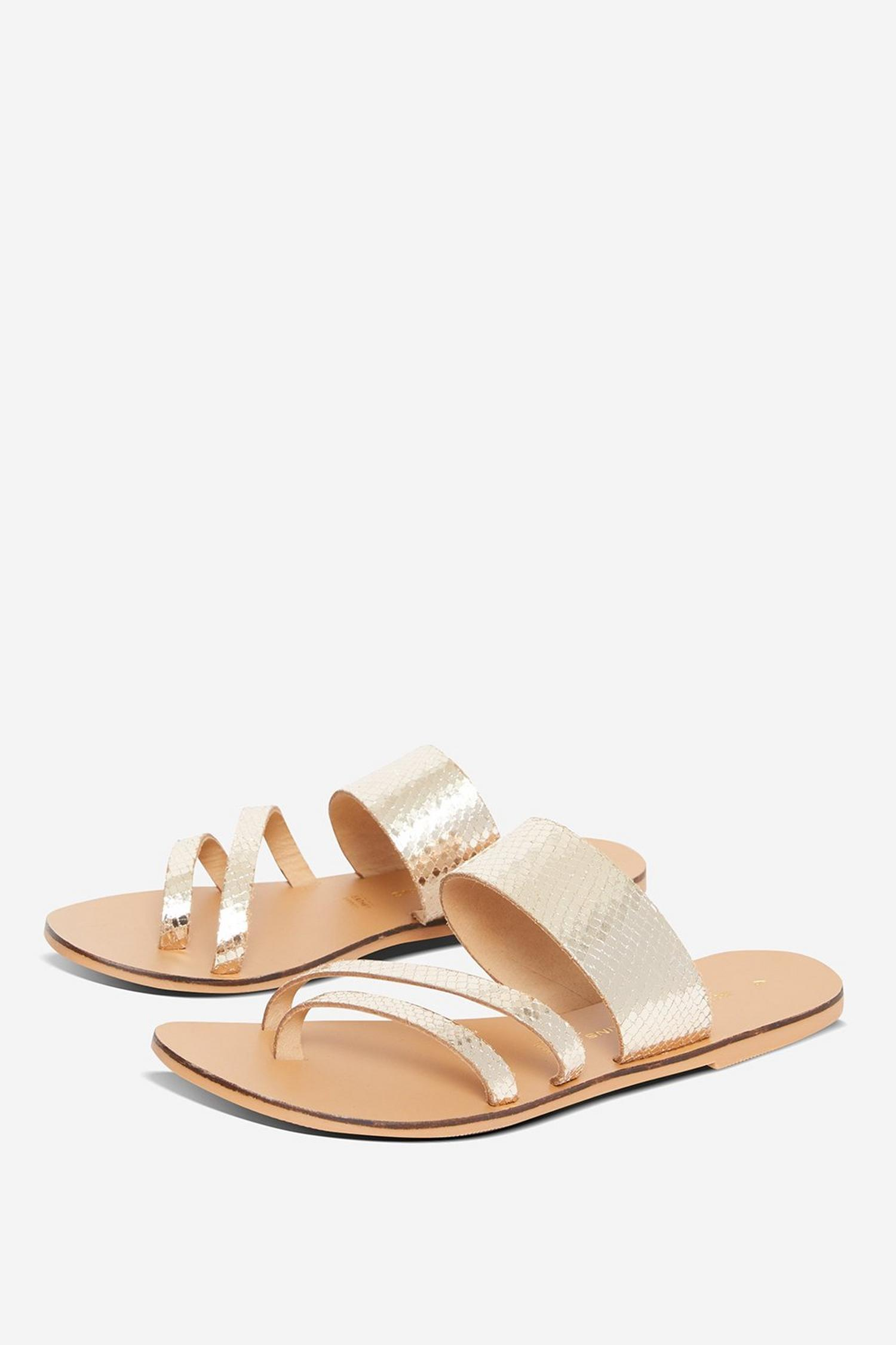 579 Gold Joss Leather Sandals image number 1