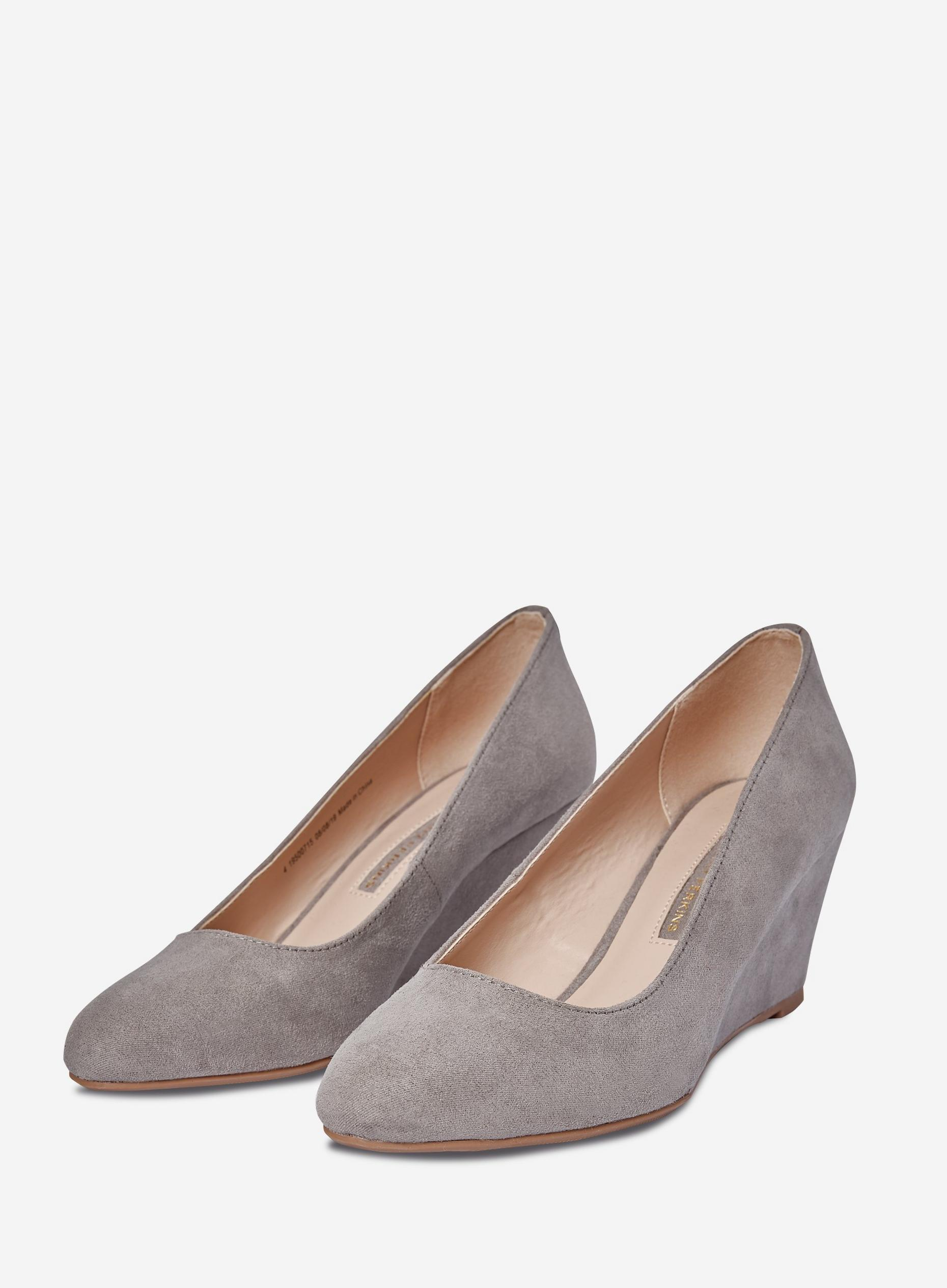 Grey Dreamer Wedge Court Shoes
