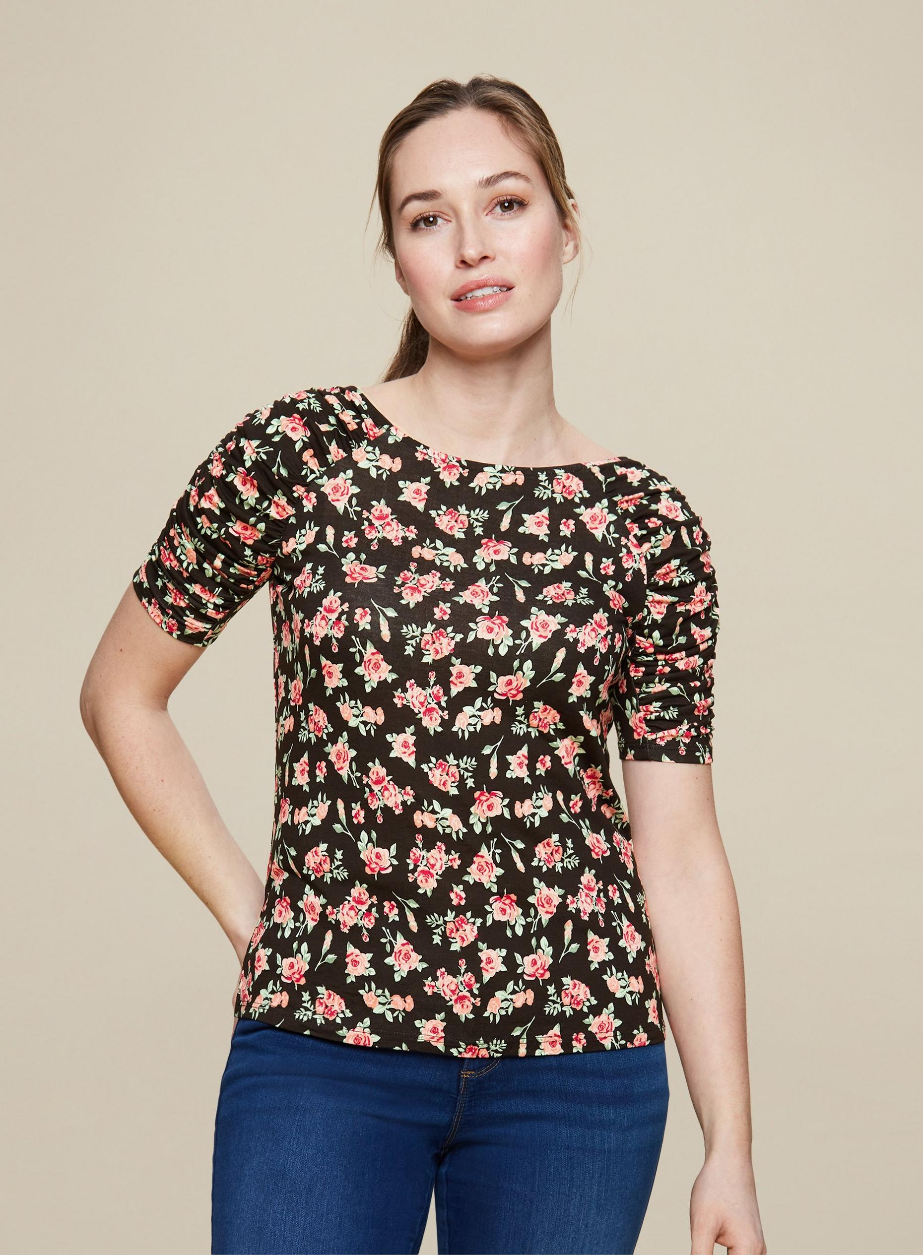 Ditsy Ruched Sleeve Top