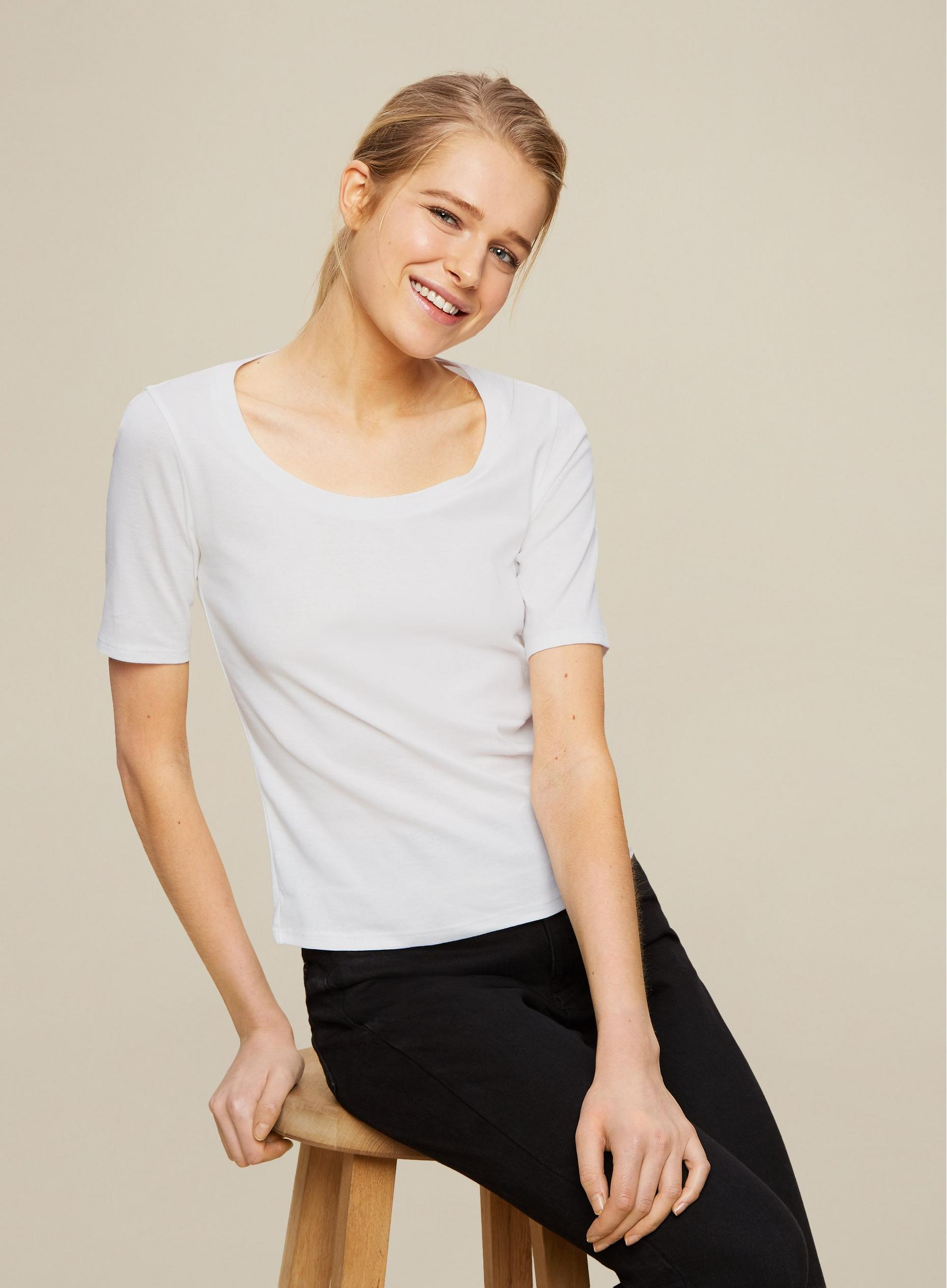 Organic Cotton Scoop Neck Rib Top