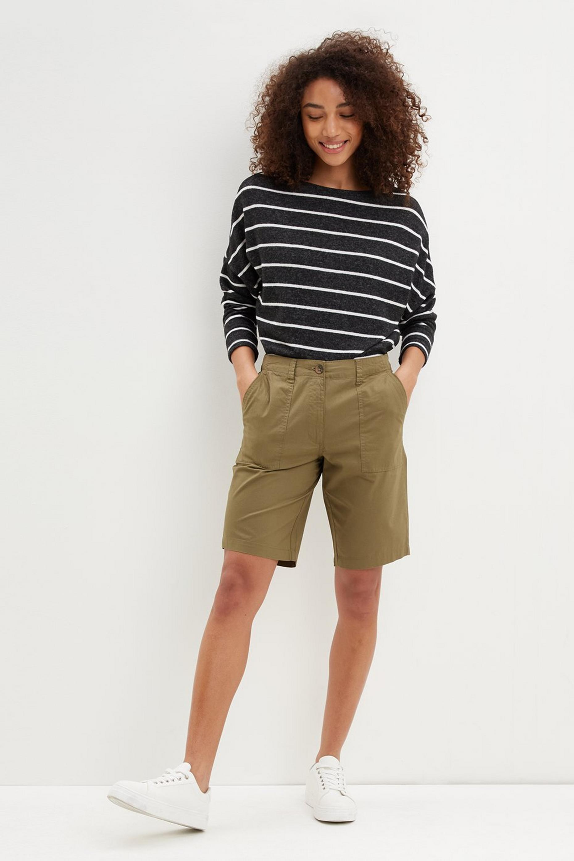Khaki Poplin Knee Shorts