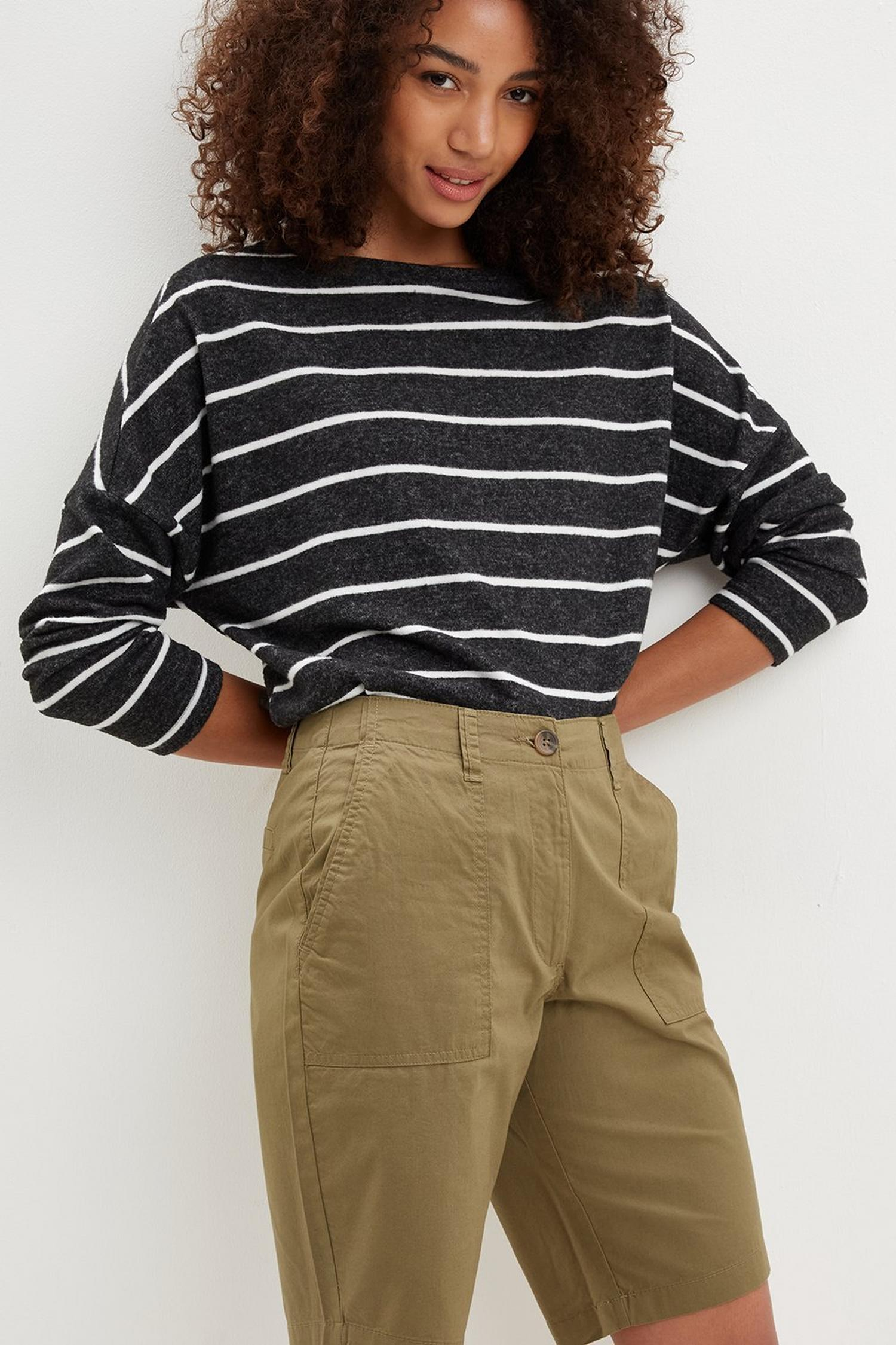 130 Khaki Poplin Knee Shorts image number 2
