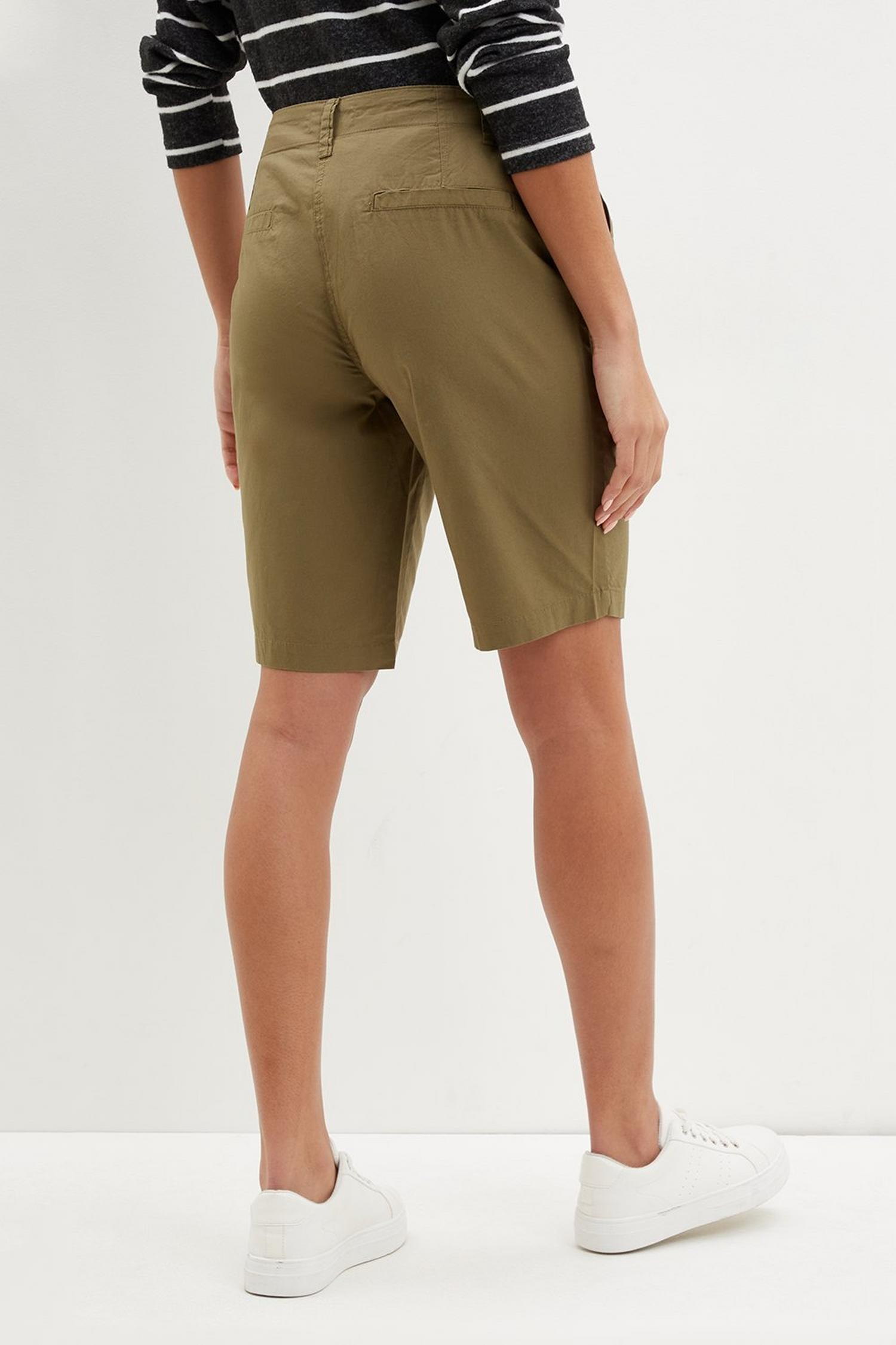 130 Khaki Poplin Knee Shorts image number 3