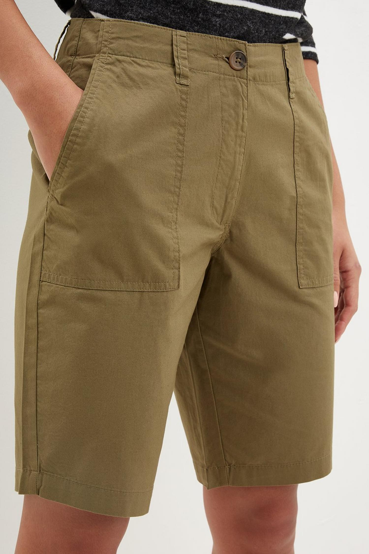 130 Khaki Poplin Knee Shorts image number 4