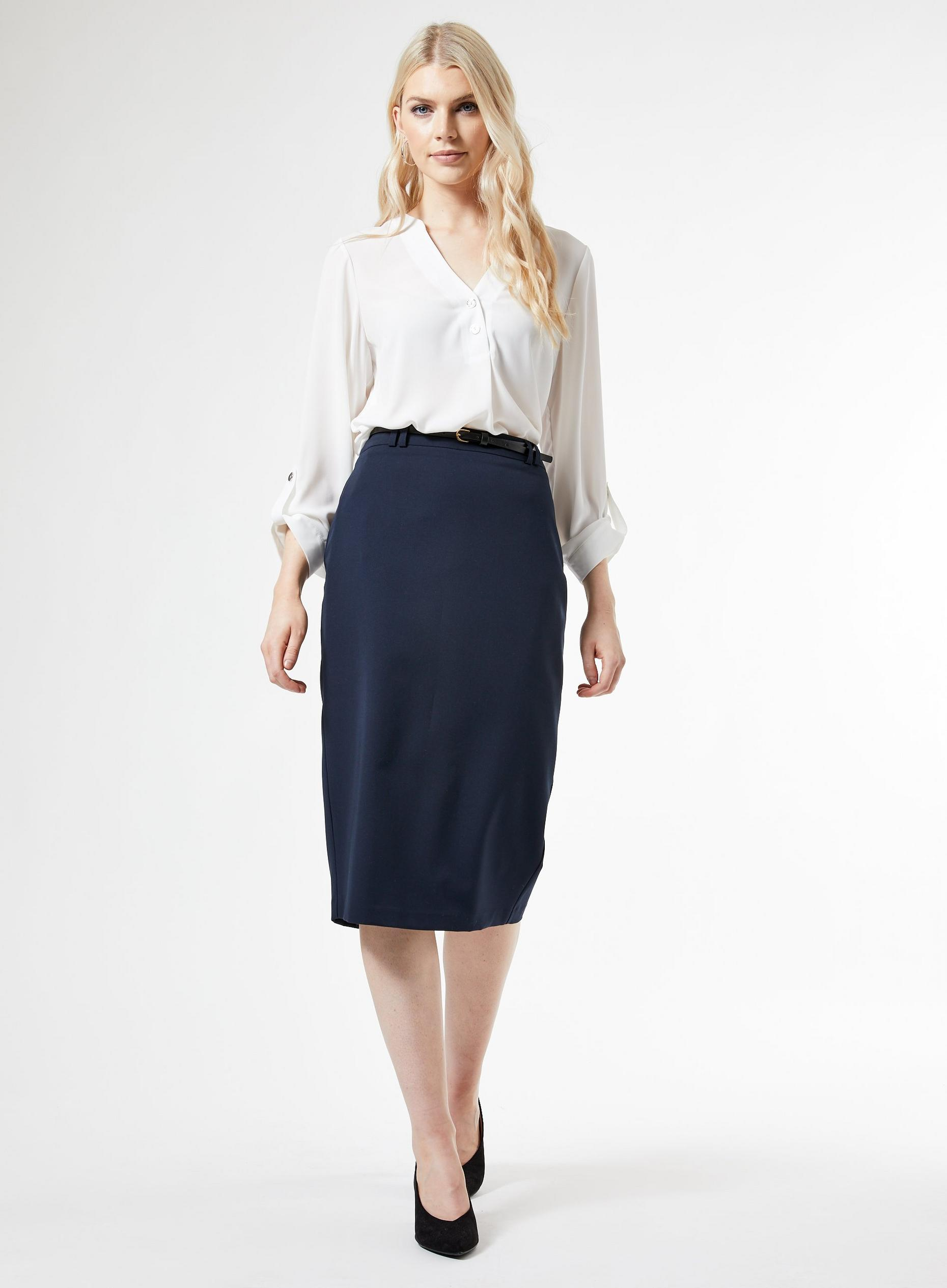 Navy Tailored Pencil Skirt