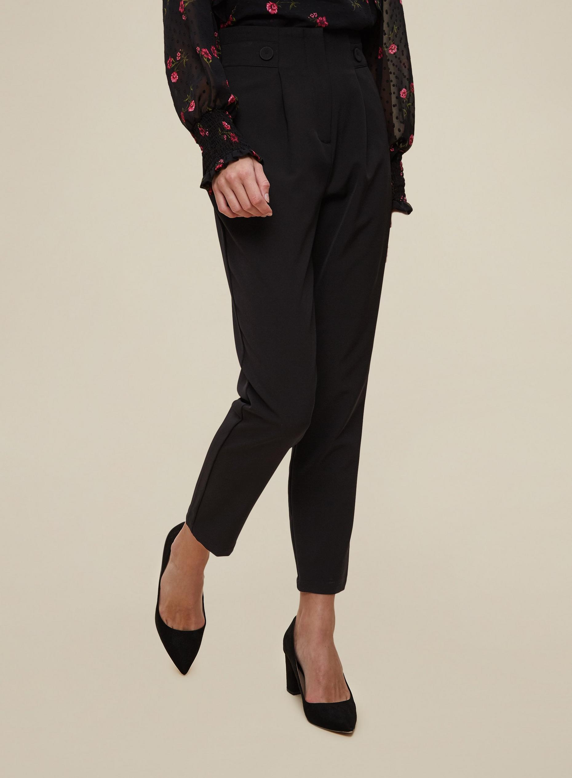 Black High Waisted Button Detail Trouser