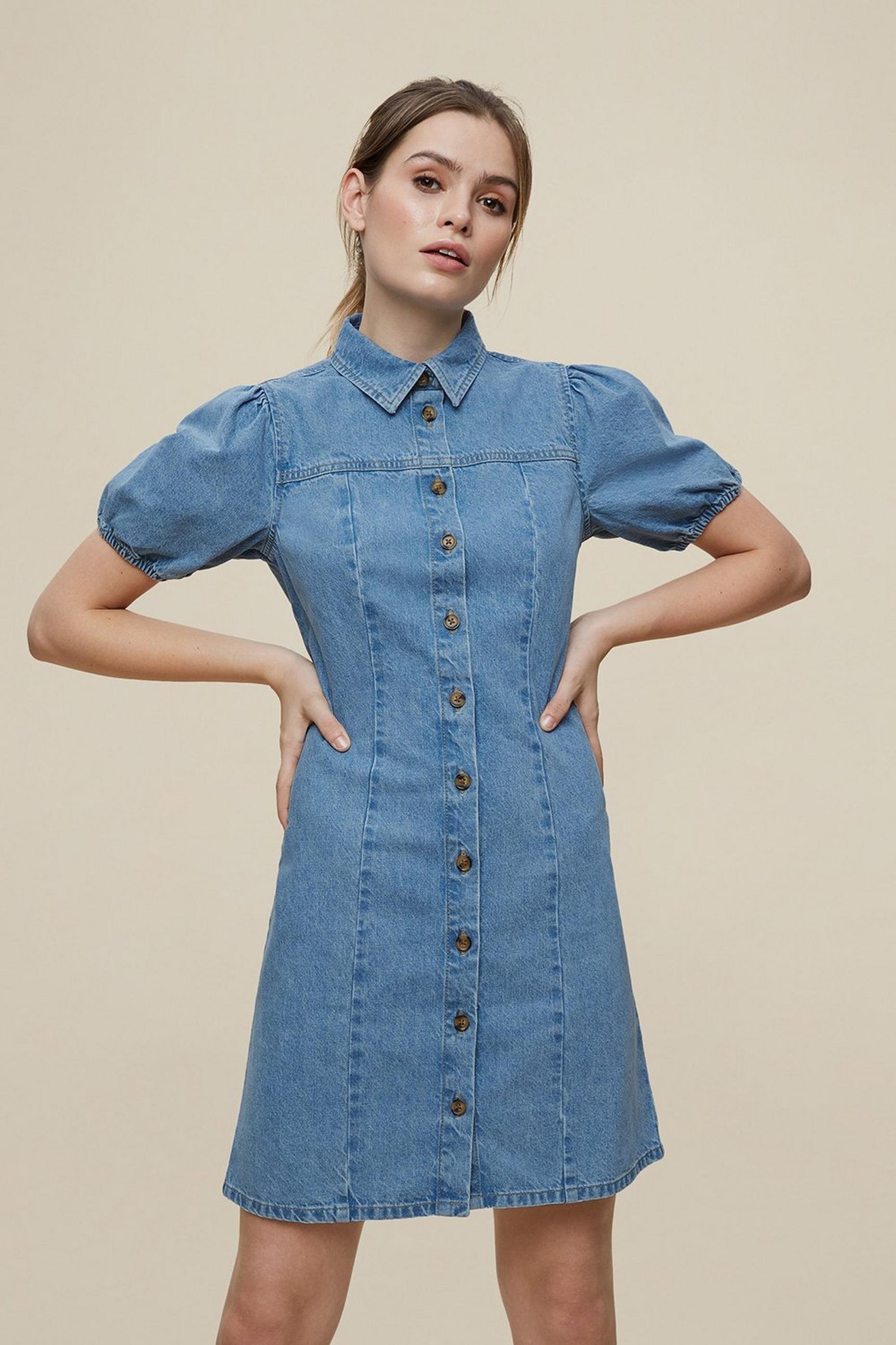 Blue Lightwash Seamed Denim Shirt Dress