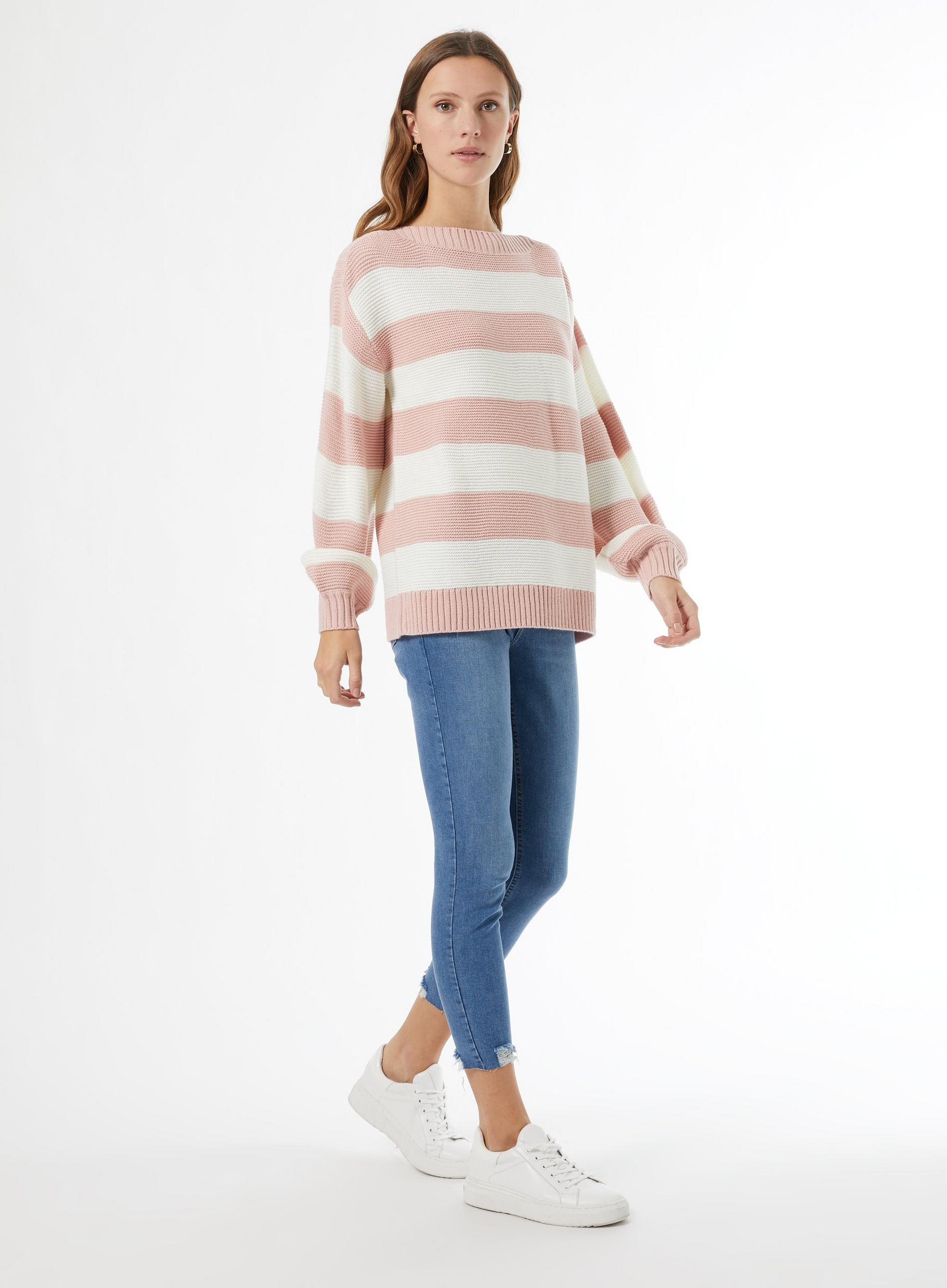 Blush Slash Neck Stripe Jumper