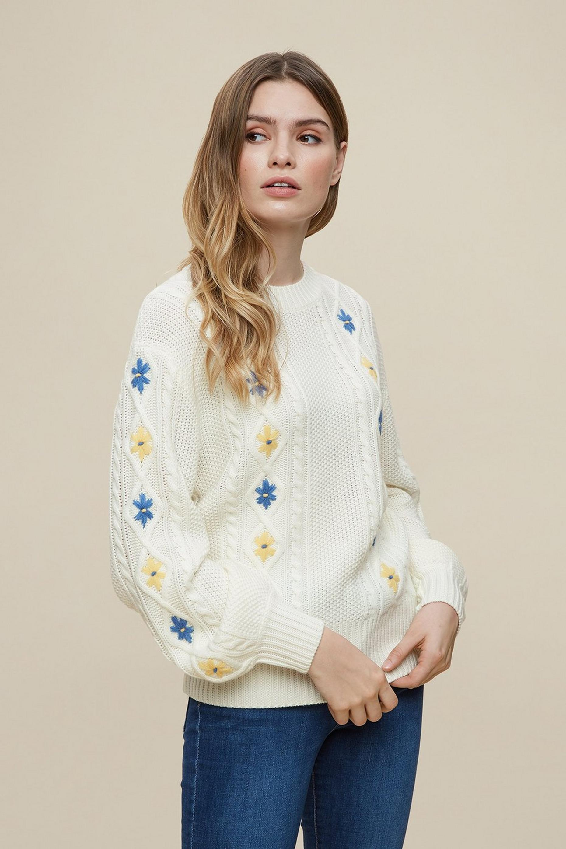 Ivory Floral Embroidered Jumper