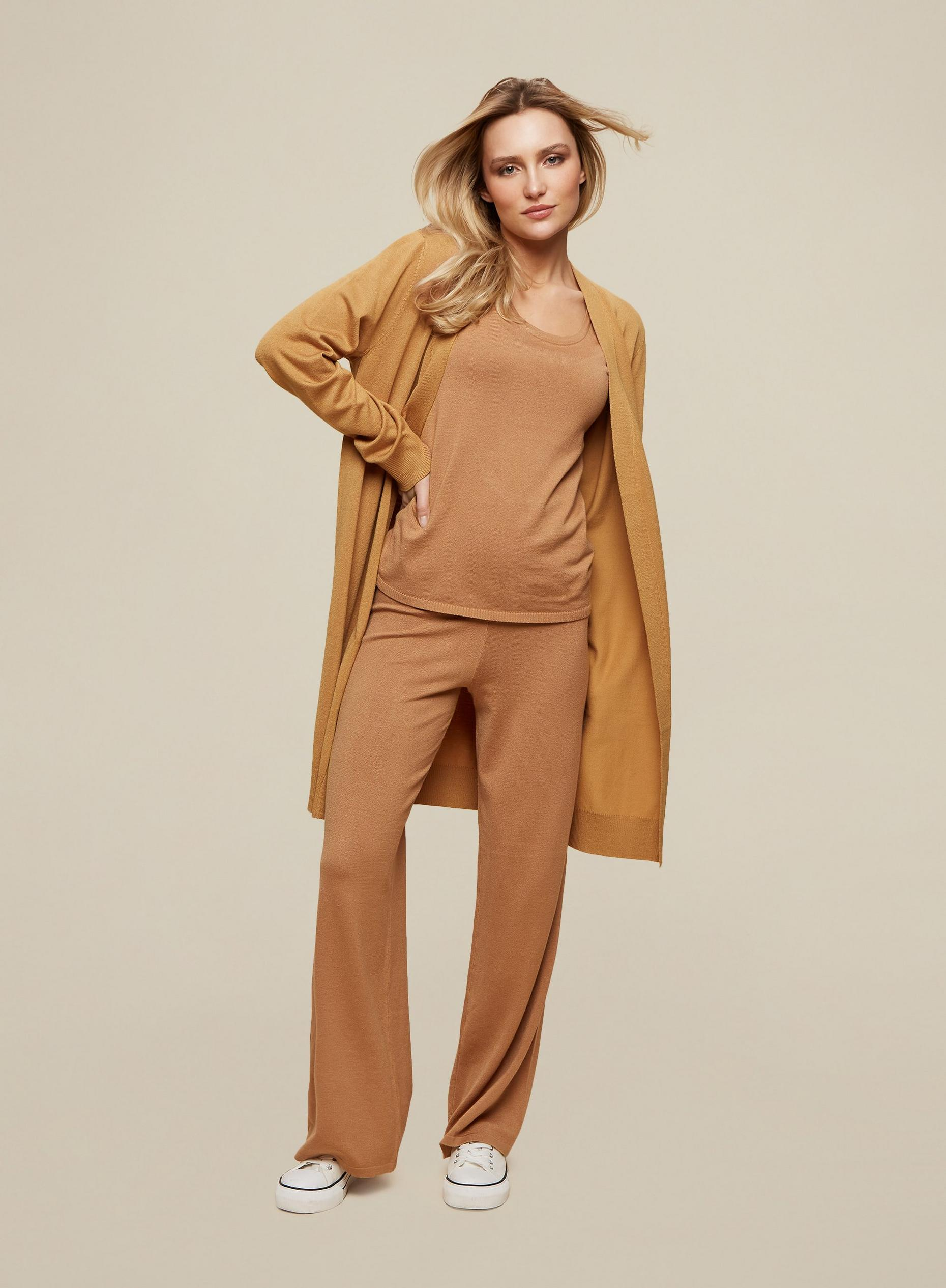 Camel Knitted Longline Cardigan