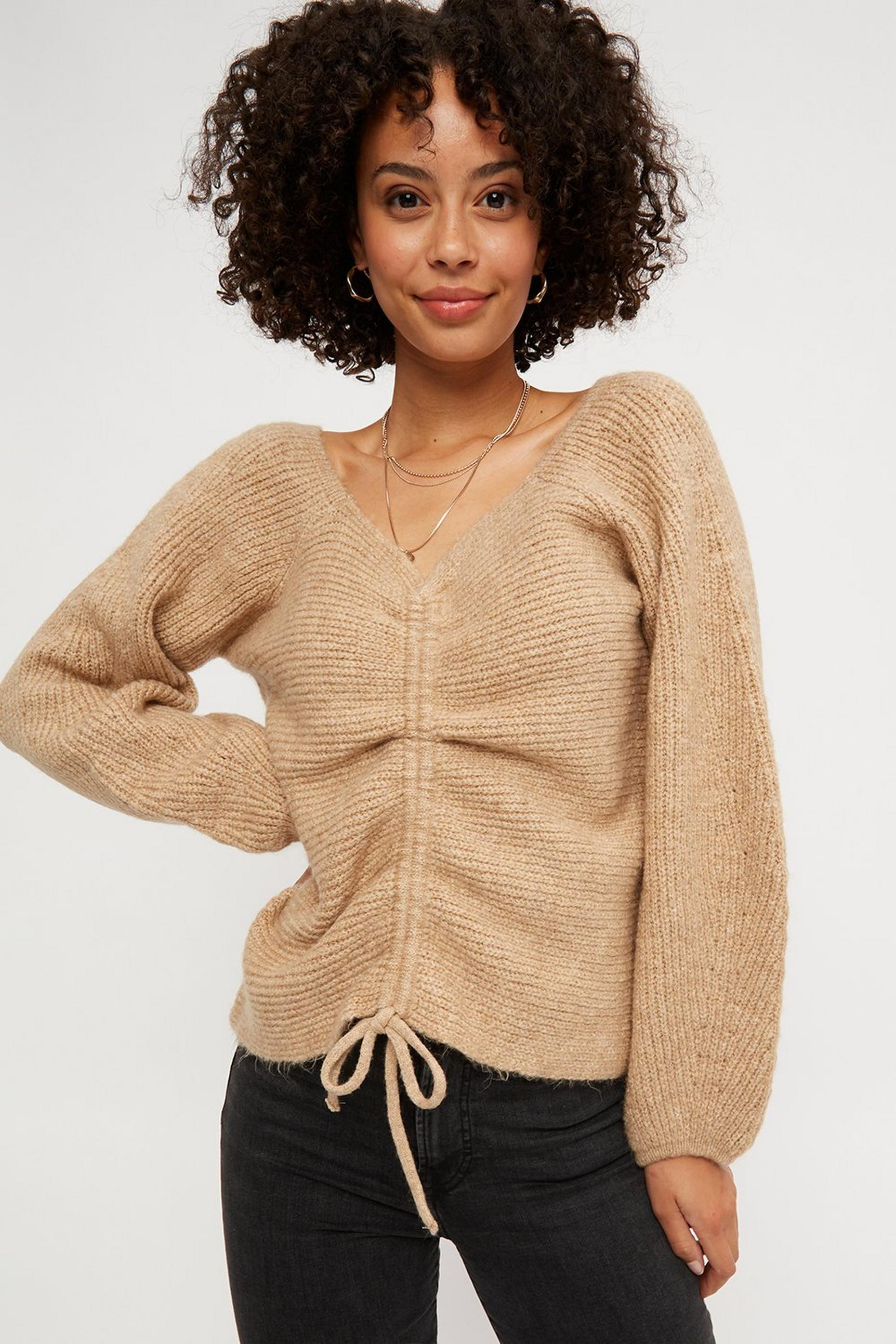 Camel Drawcord Volume Sleeve Jumper