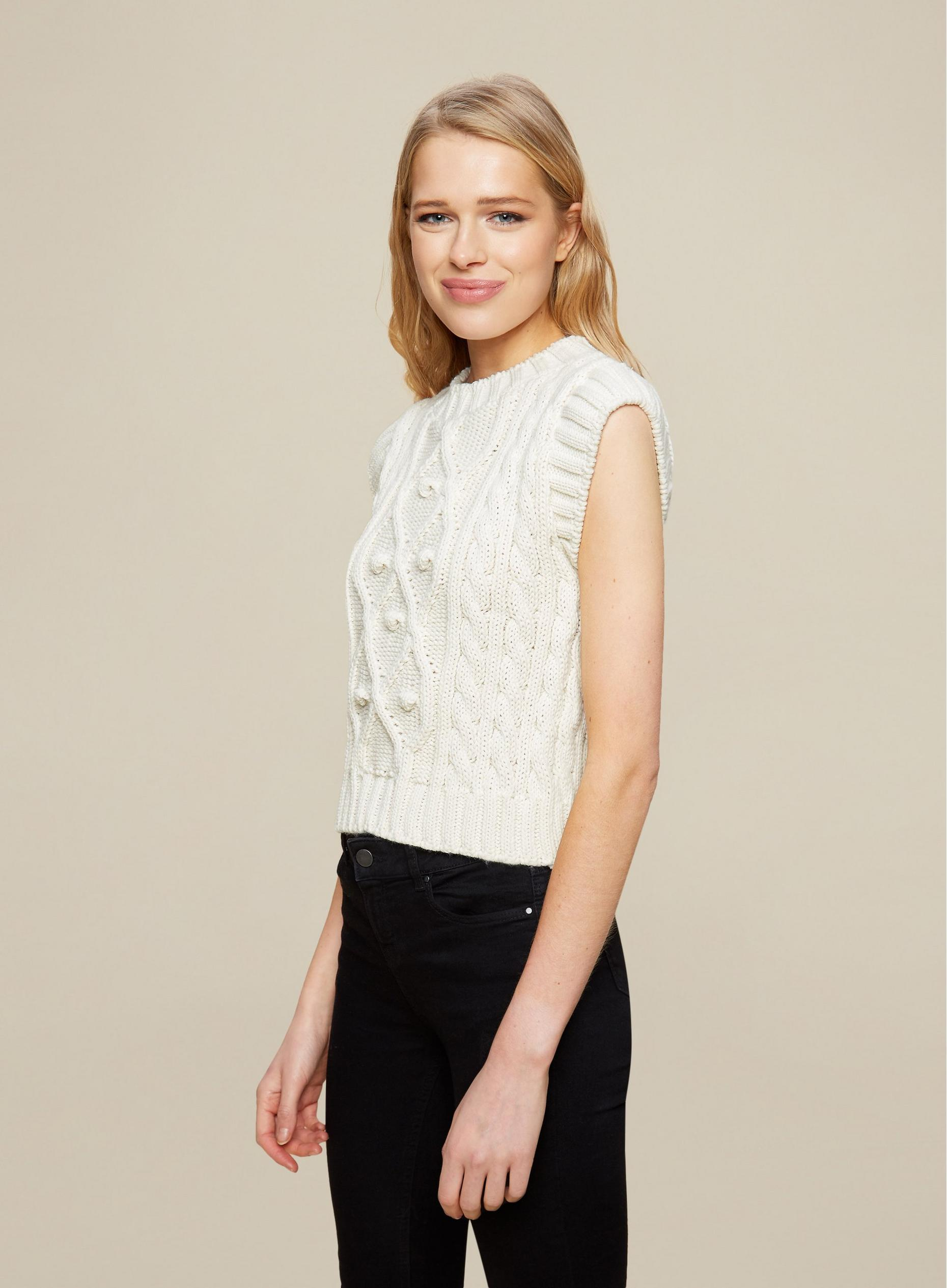 Cream Cable Knitted Tabbard Vest