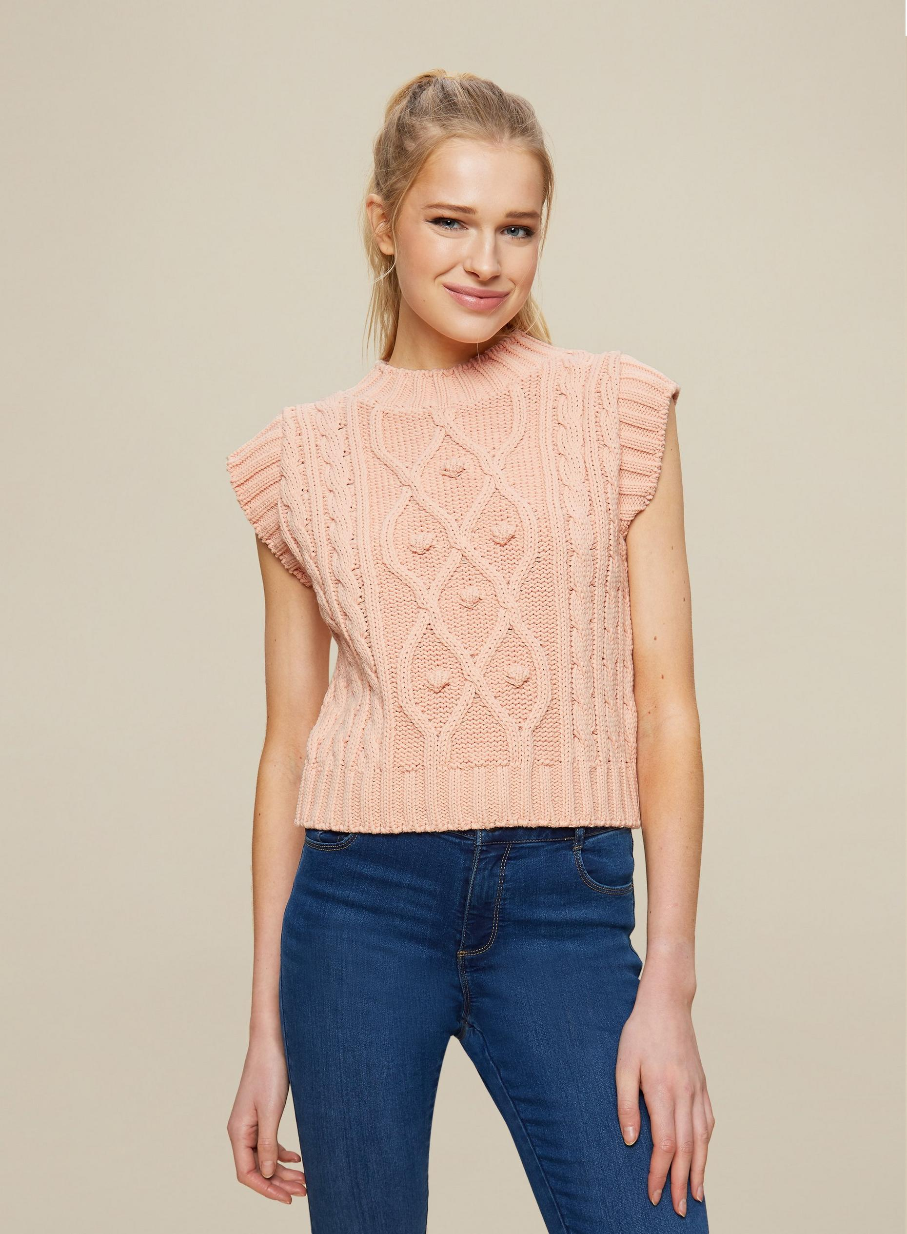 Blush Cable Tabbard Vest