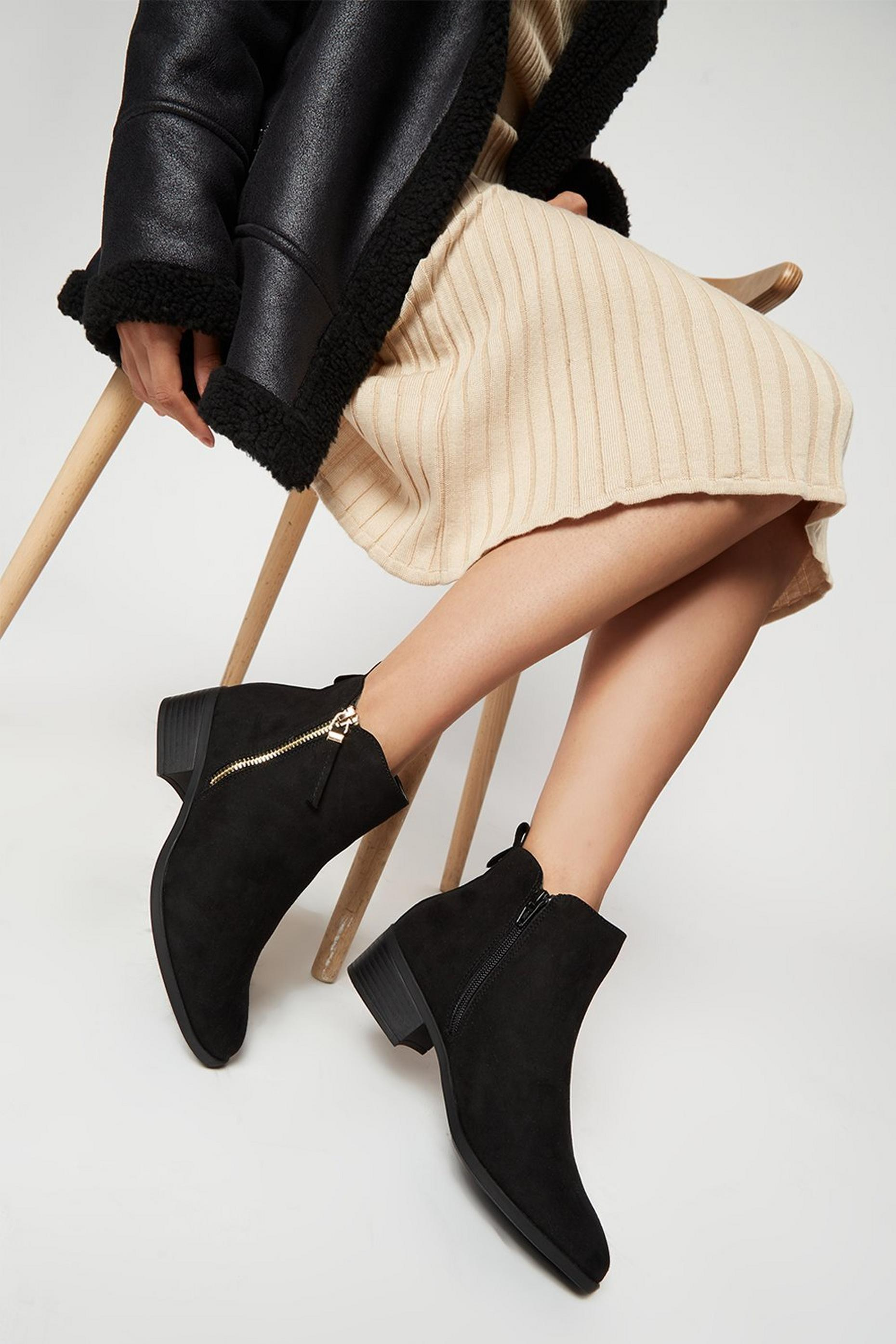 Black Macro Side Zip Ankle Boot