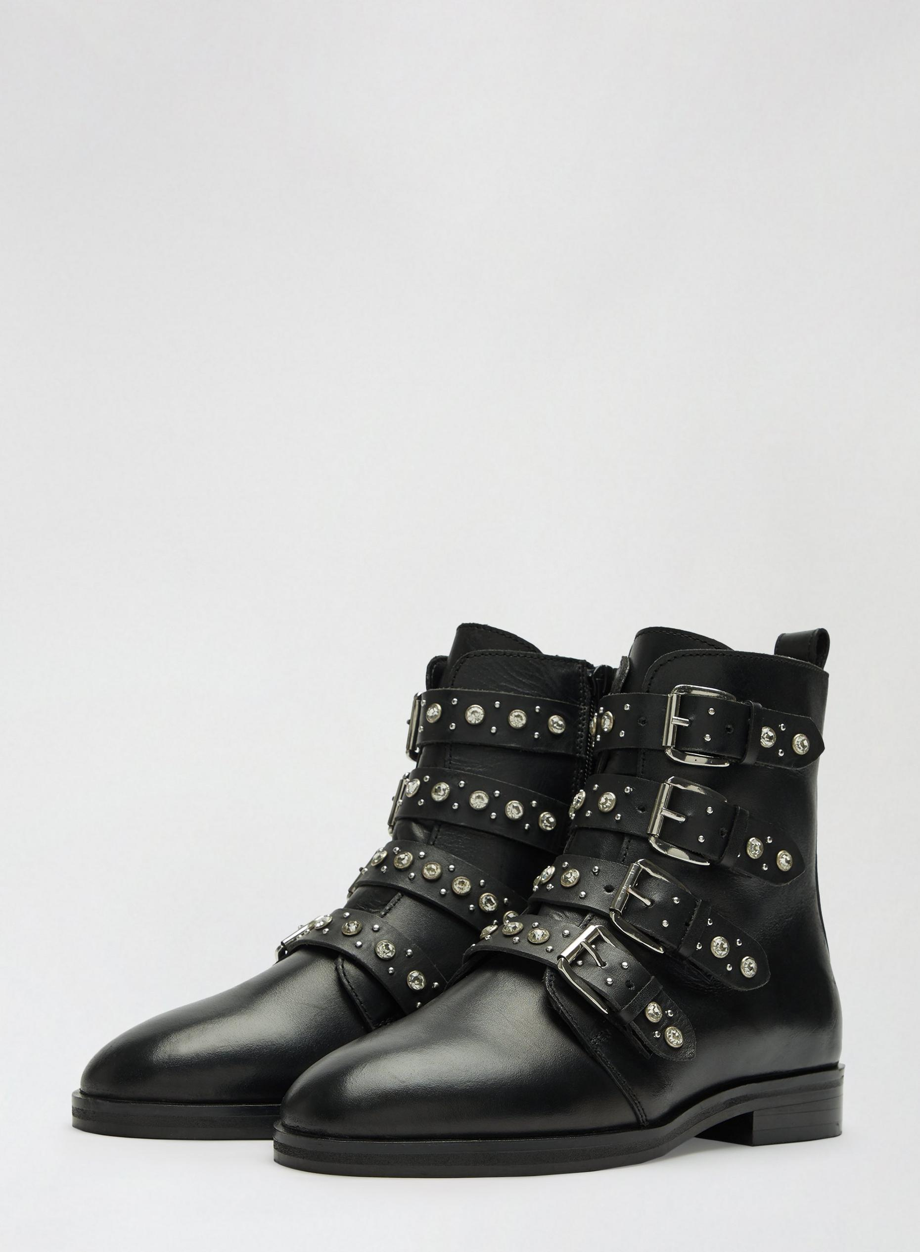 Black Opala Leather Studded Biker Boots