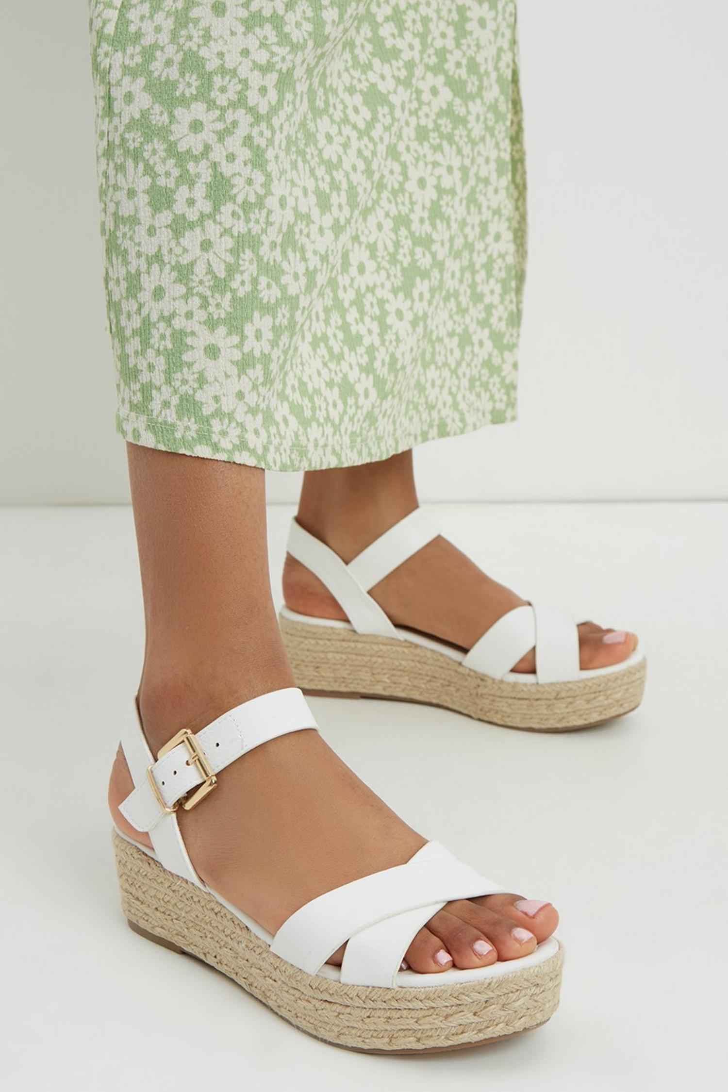 173 White Reenie Cross Strap Wedge image number 1