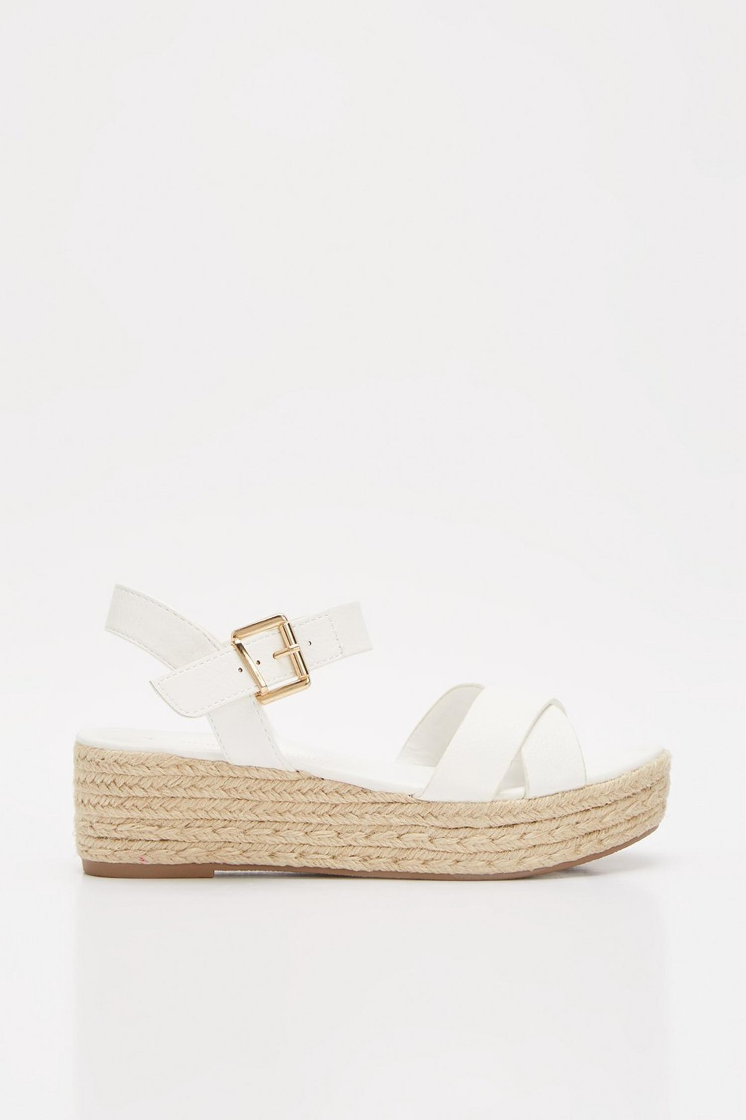 173 White Reenie Cross Strap Wedge image number 2