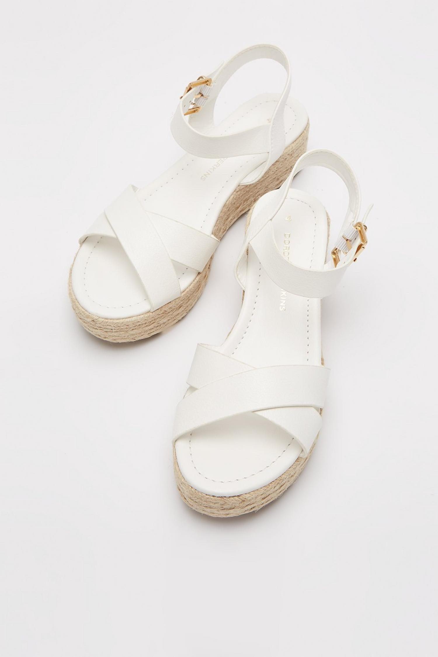 173 White Reenie Cross Strap Wedge image number 4