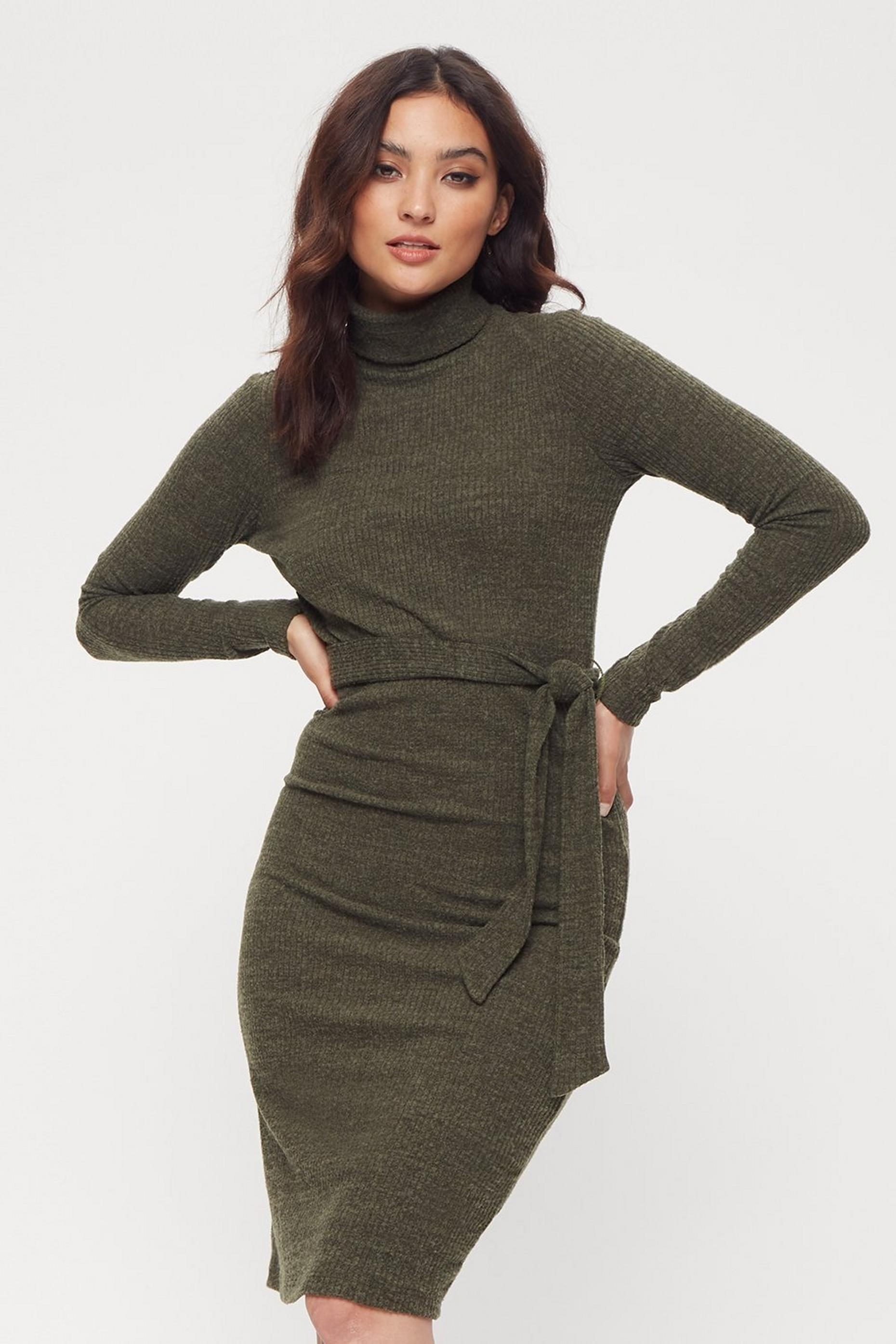 Petites Khaki Rib Roll Neck Dress