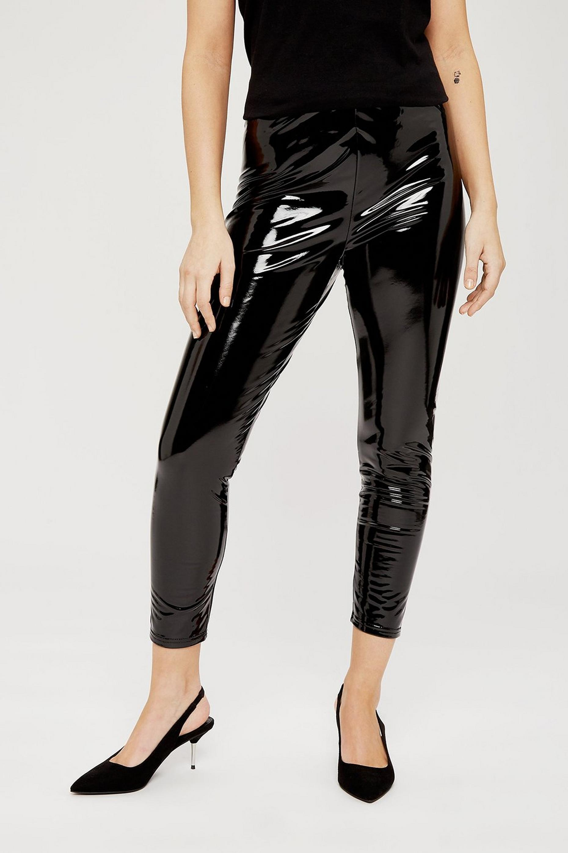 Petites Black Vinyl Leggings