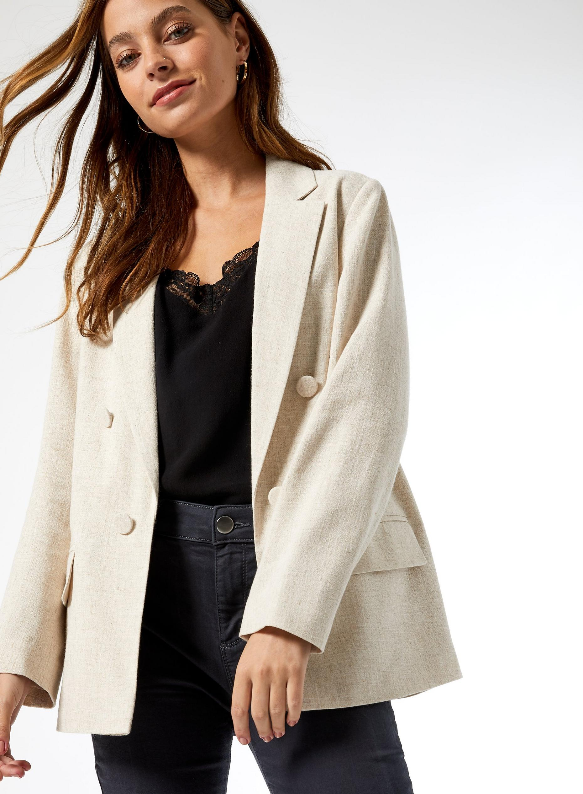 DP Petite White Crosshatch Blazer